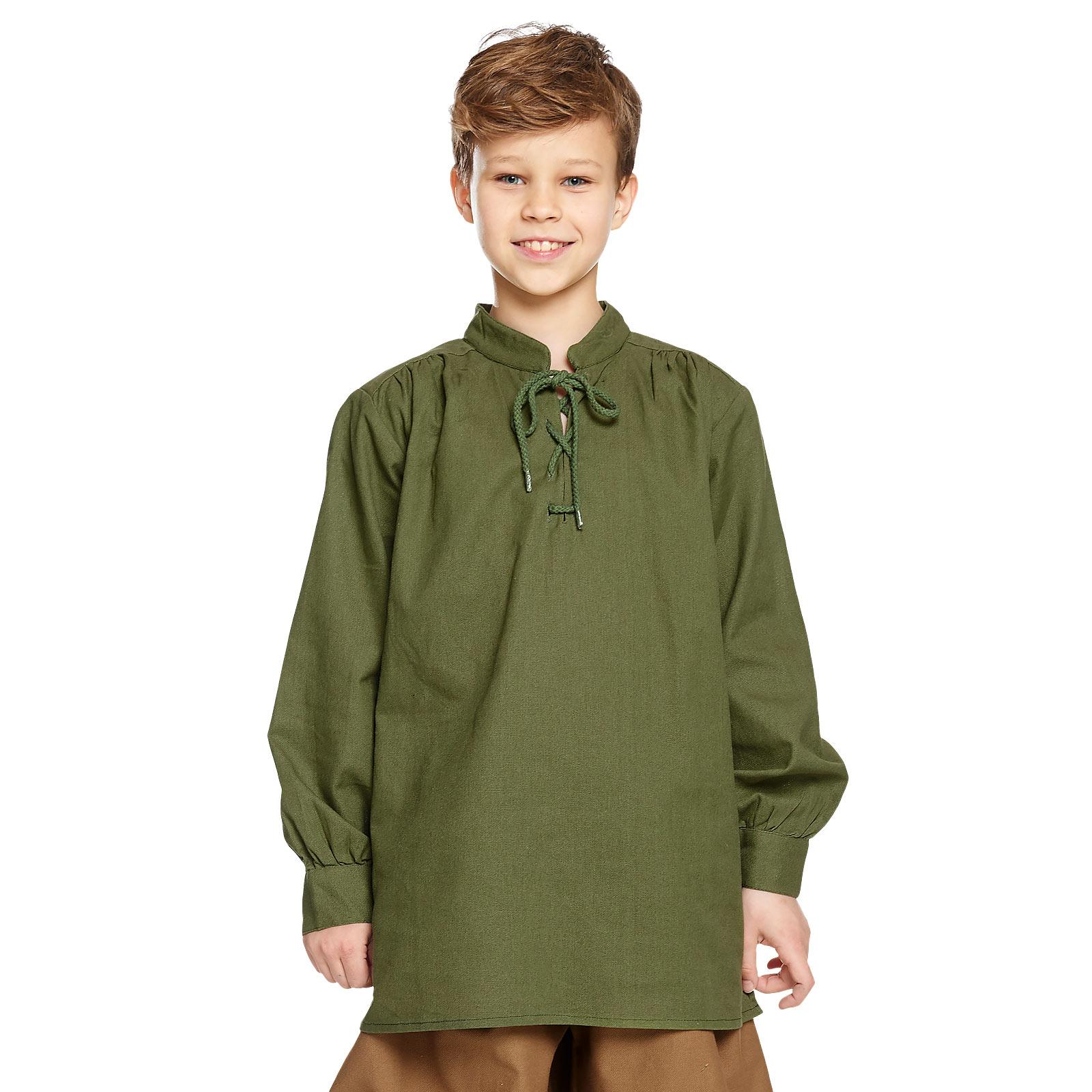 Mittelalter Hemd Kinder mit edler Rückenschnürung grün