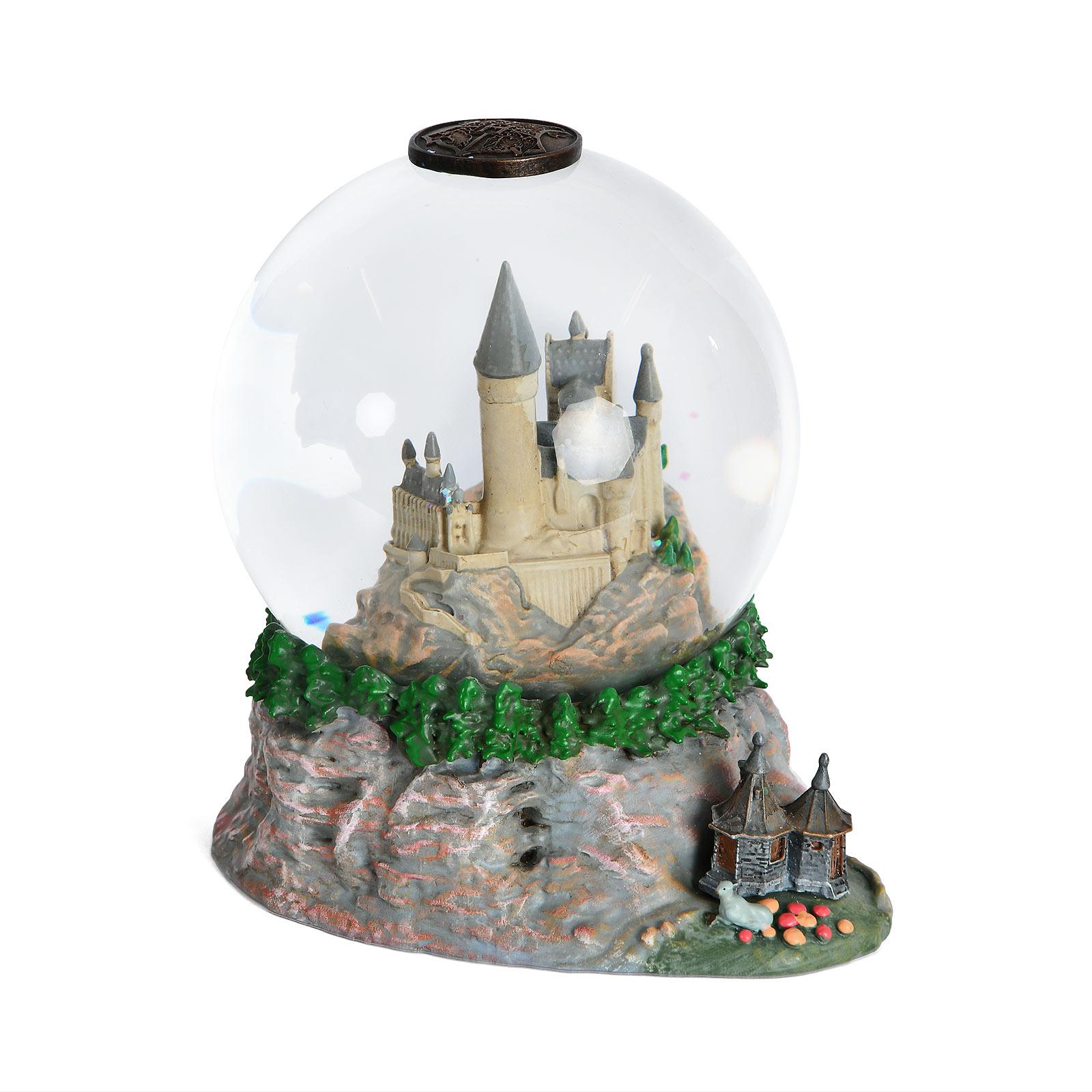 Harry Potter - Hogwarts mit Hagrids Hütte Schneekugel mit Glitter
