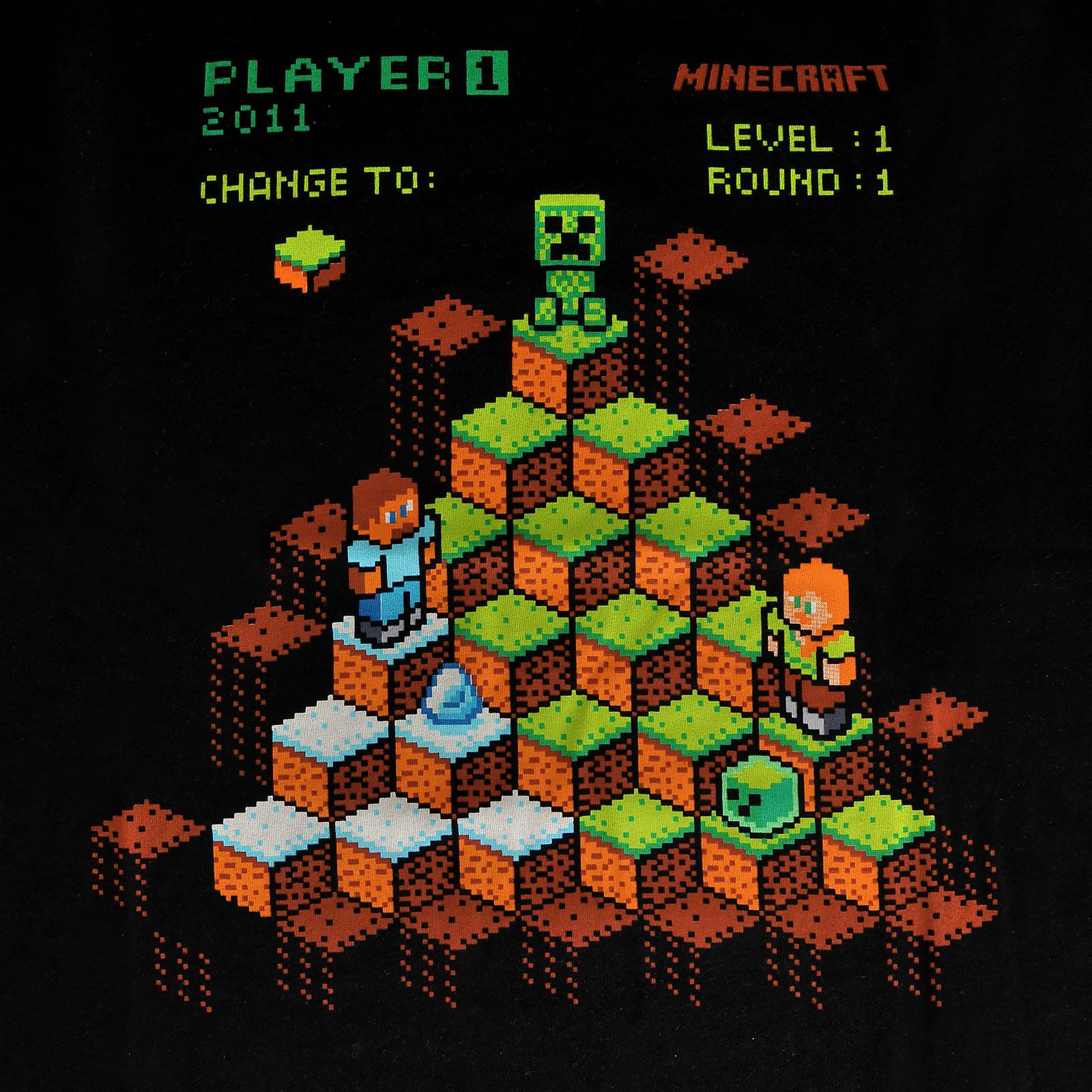 Minecraft - Miner Mountain Retro T-Shirt Kinder schwarz