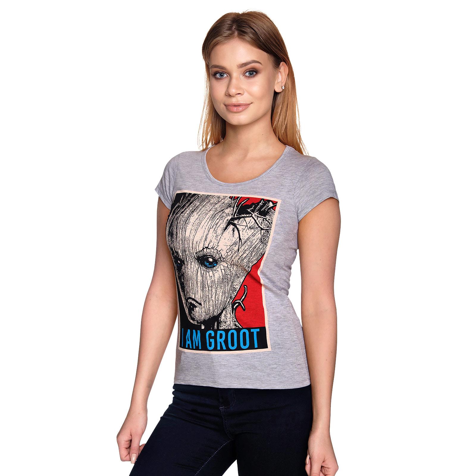 Guardians of the Galaxy - I Am Groot T-Shirt Damen grau