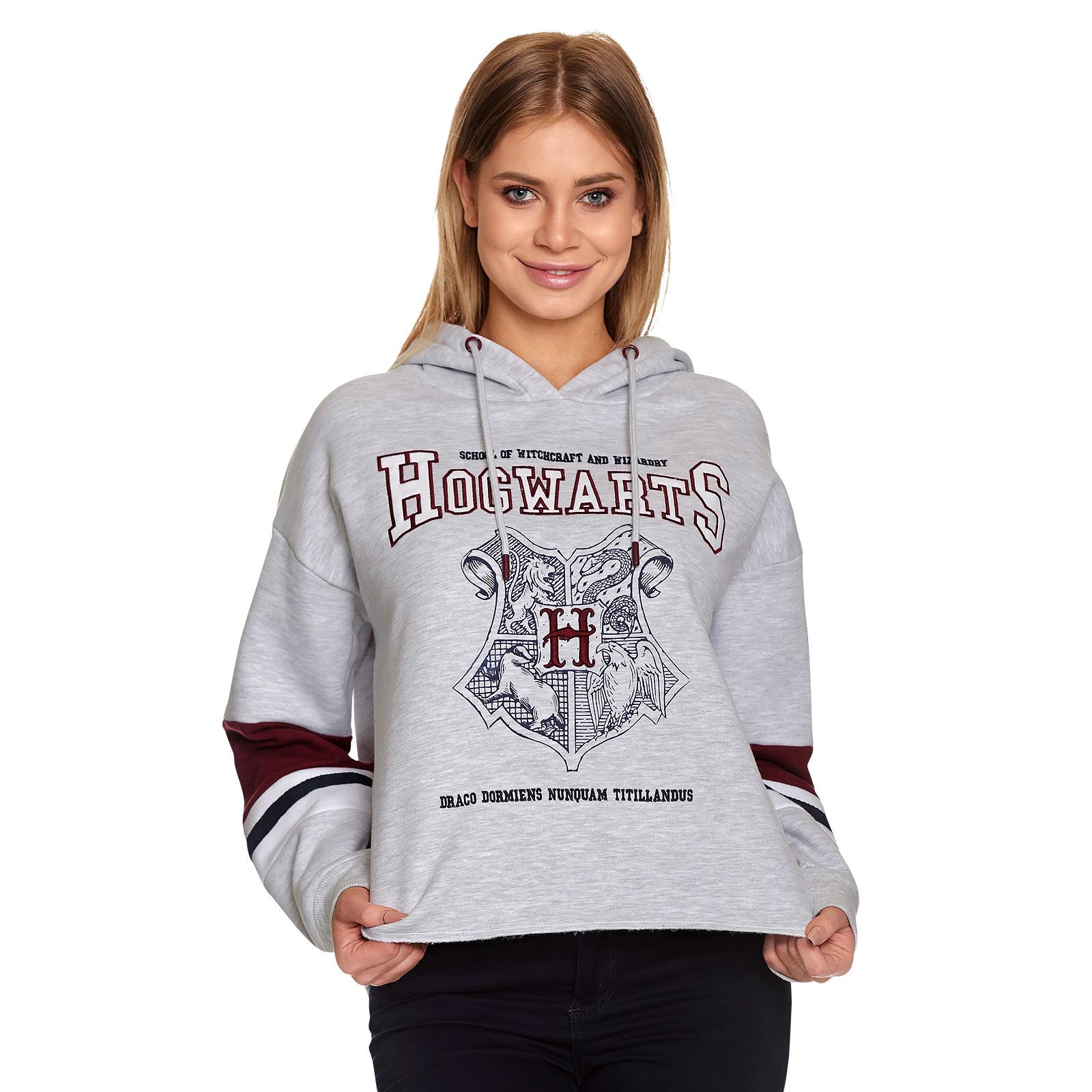 Harry Potter - Hogwarts School Crop Hoodie Damen grau