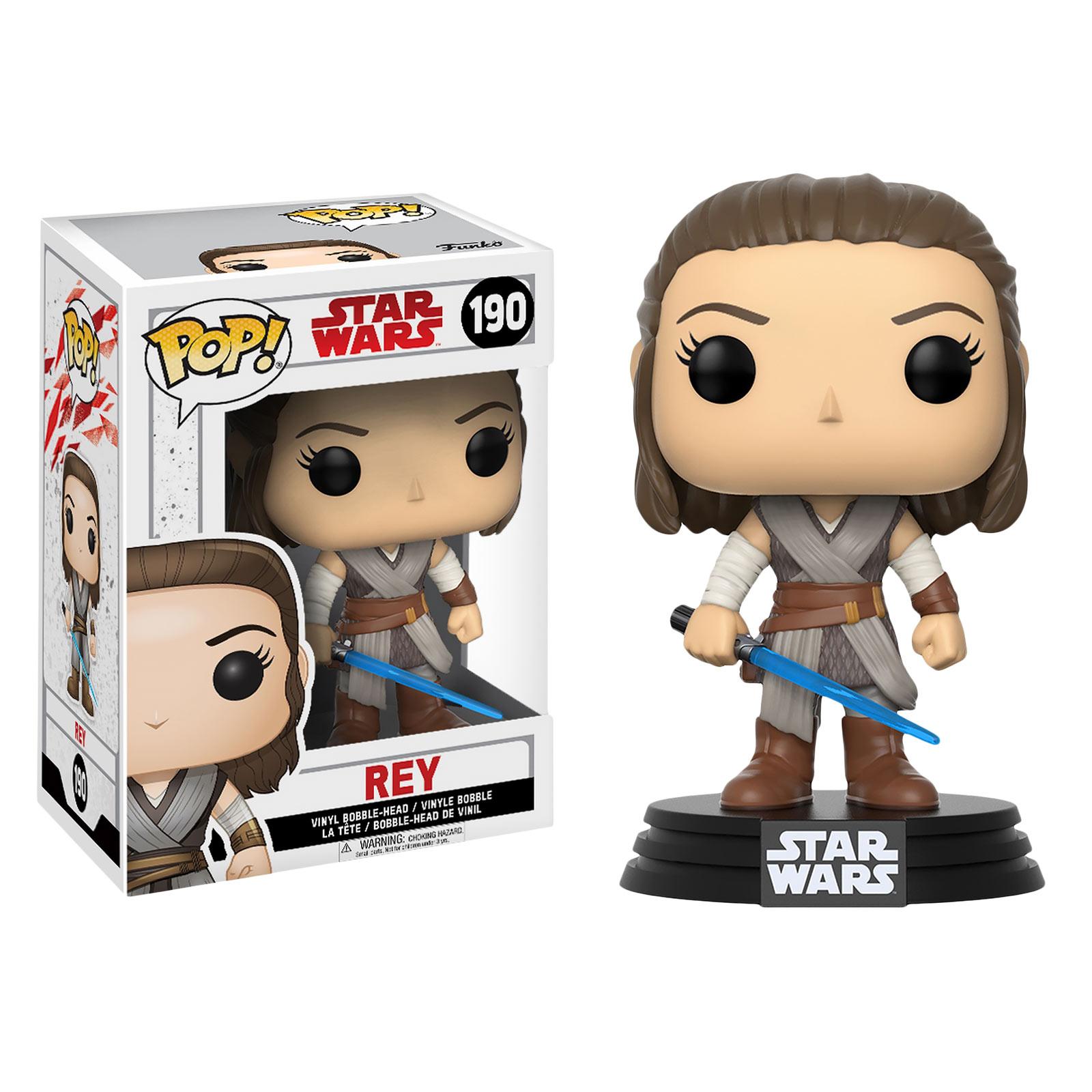 Star Wars - Rey mit Lichtschwert Wackelkopf-Figur