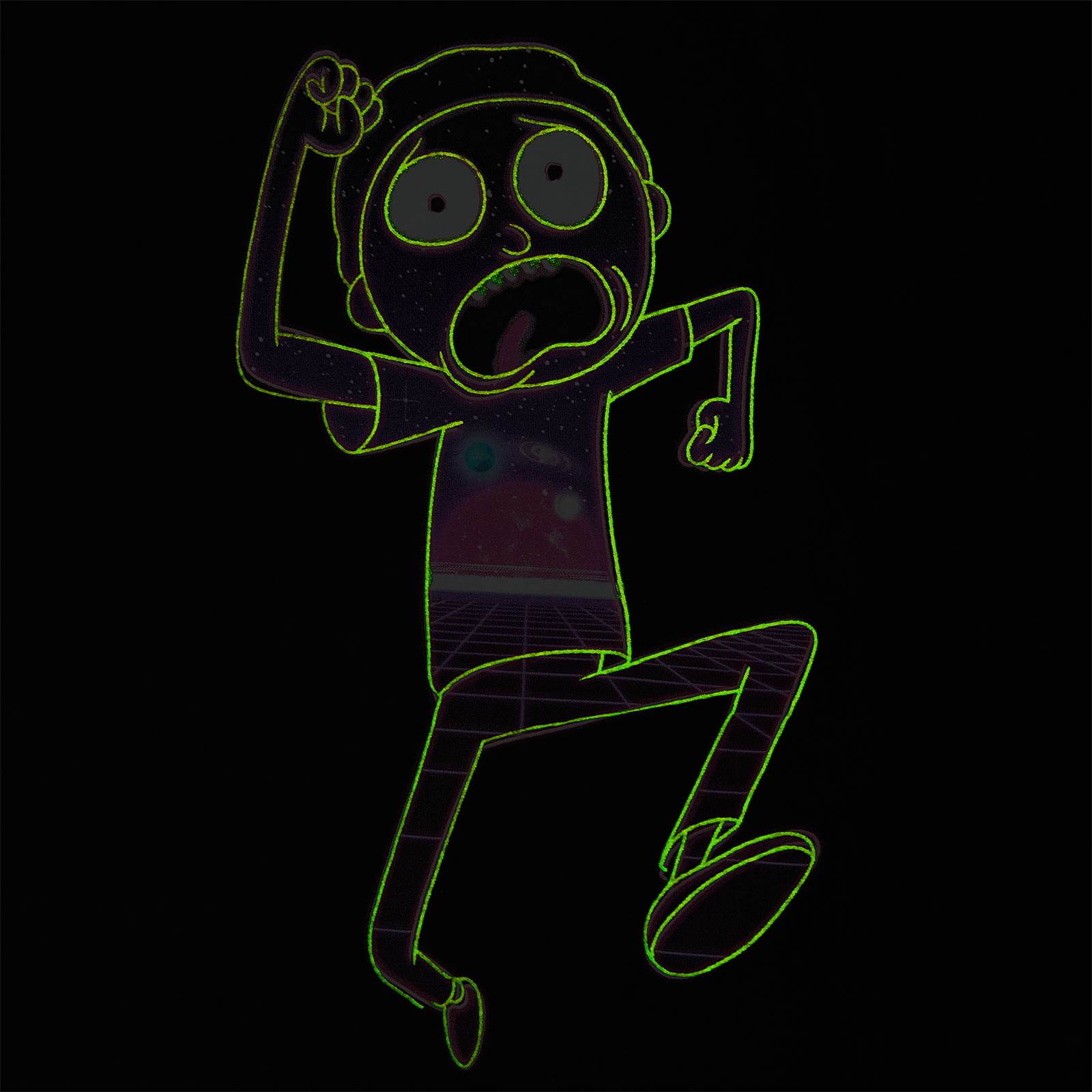 Rick and Morty - Neon Morty Glow in the Dark T-Shirt schwarz