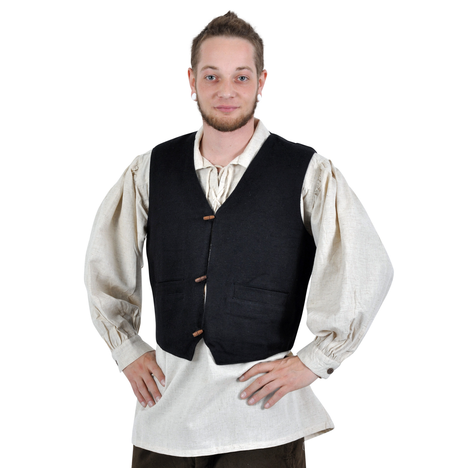 Mittelalter Weste Heinrich mit Taschen schwarz