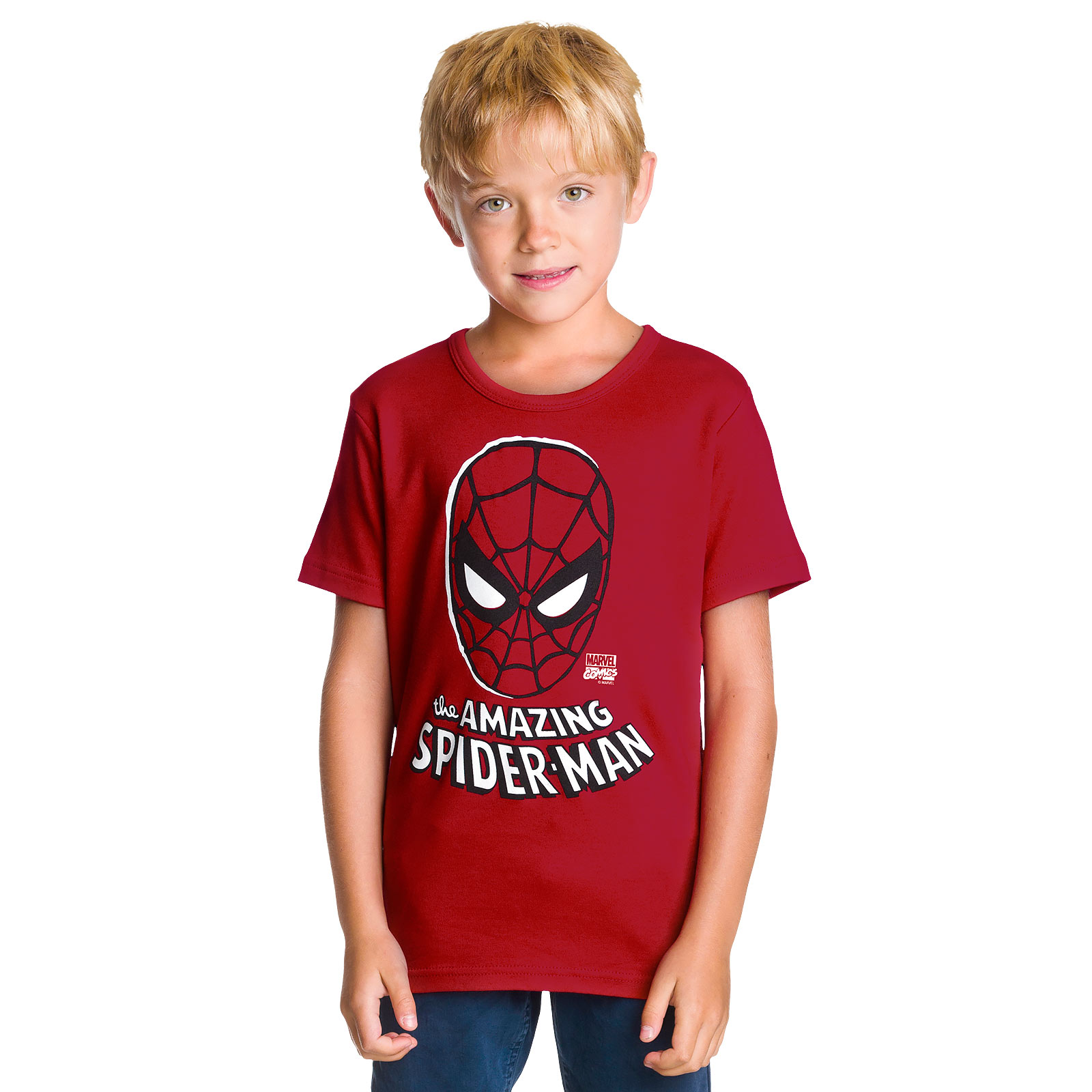 Spider-Man - Face Kinder T-Shirt rot