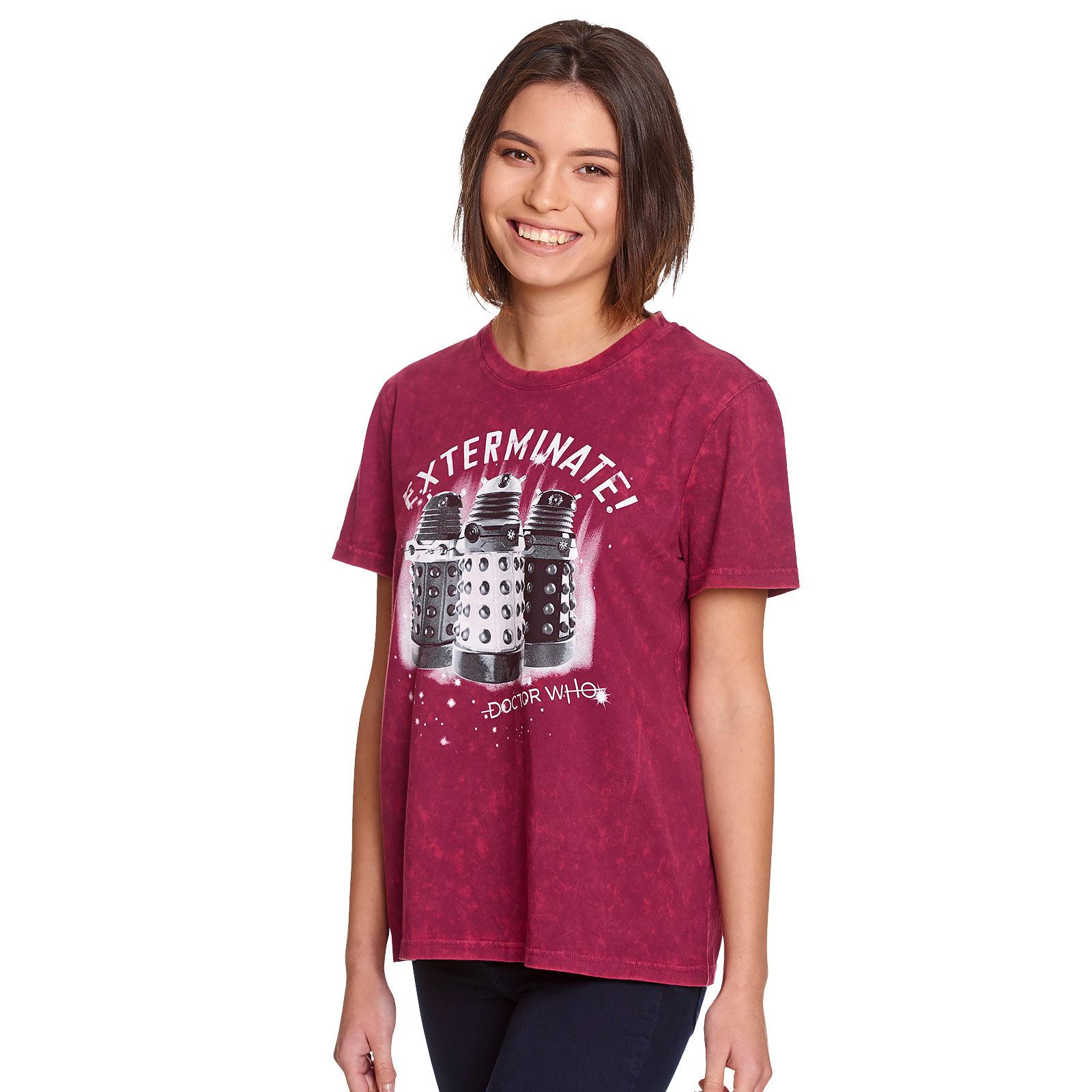 Doctor Who - Daleks Exterminate T-Shirt Damen rot