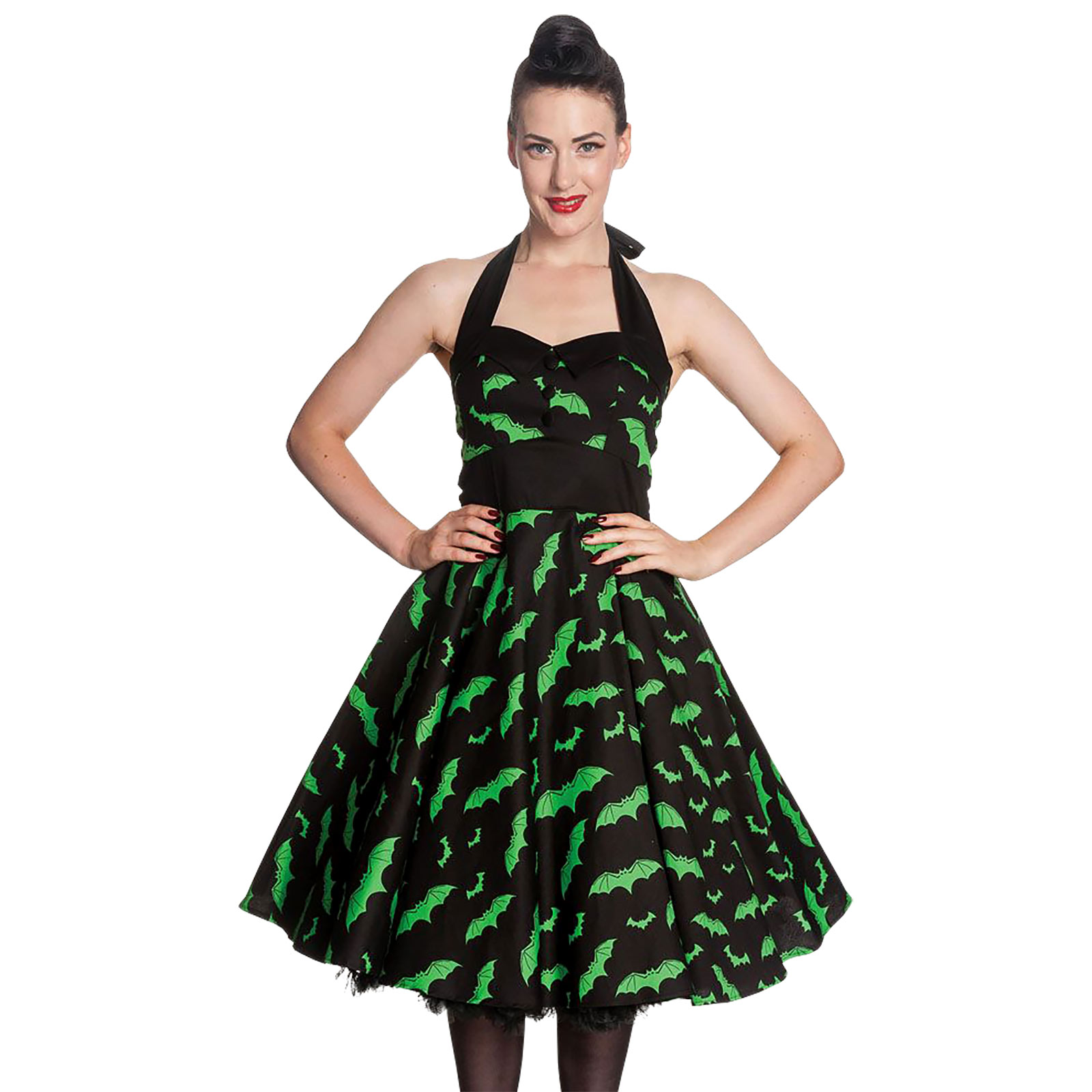 Rockabilly-Kleid Bat schwarz-grün