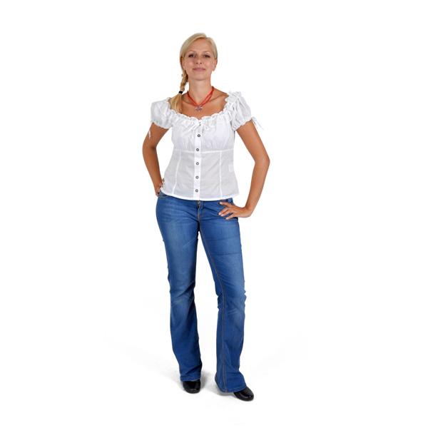 Dirndl-Bluse Carmen, Trachtenbluse weiß