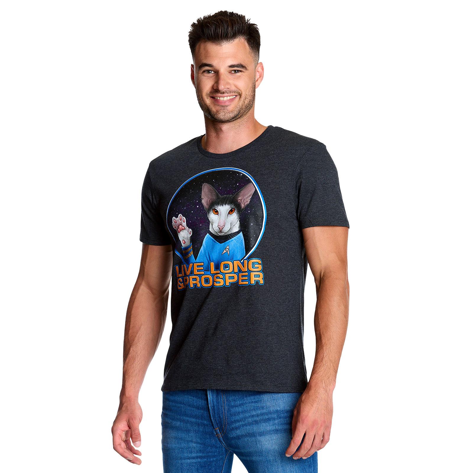 Star Trek - Cat Spock Live Long and Prosper T-Shirt grau