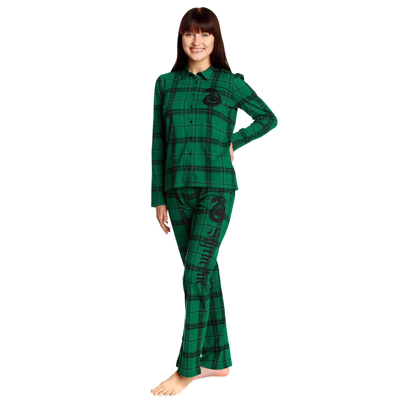 Harry Potter - Slytherin Karo Pyjama Damen grün