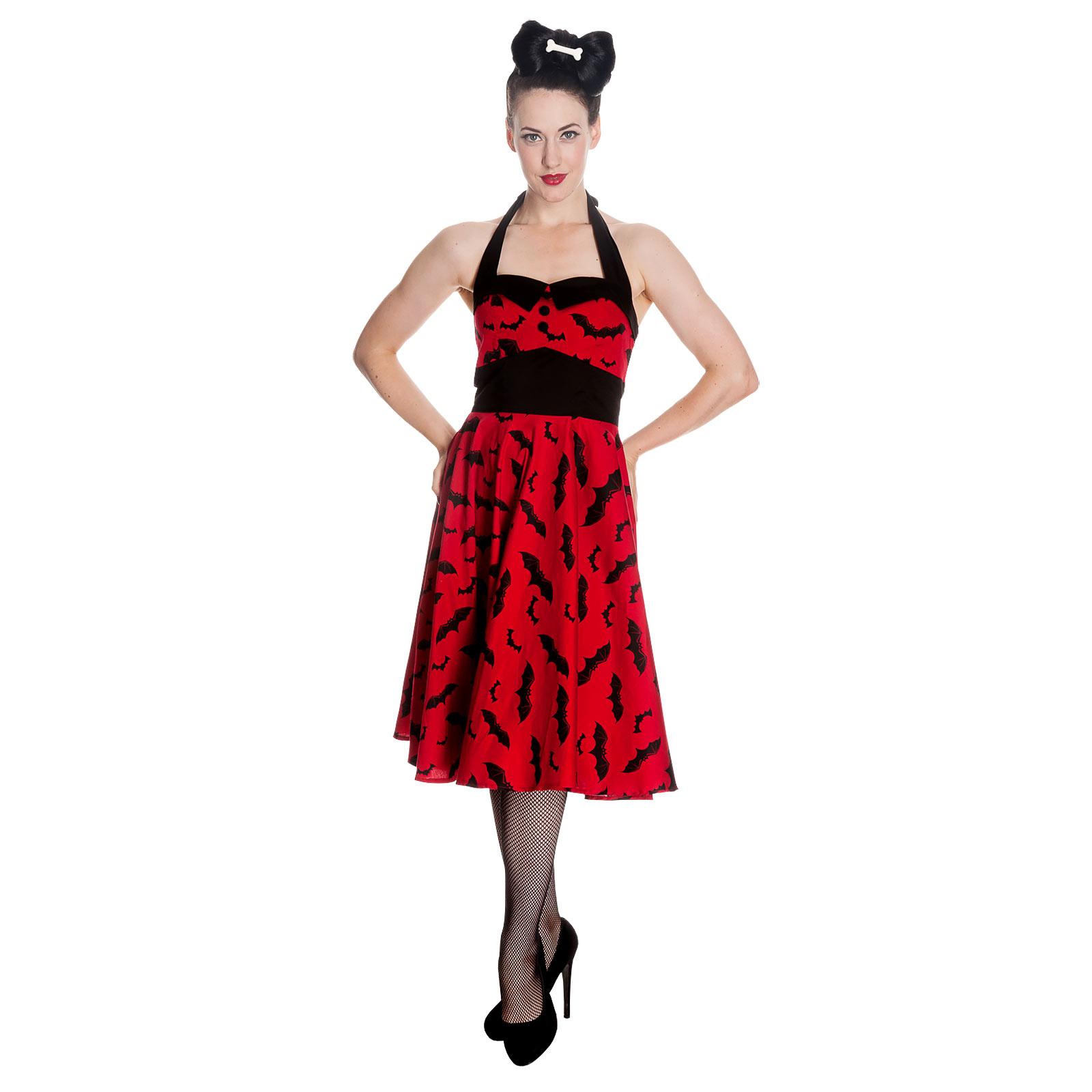Rockabilly-Kleid Bat rot-schwarz