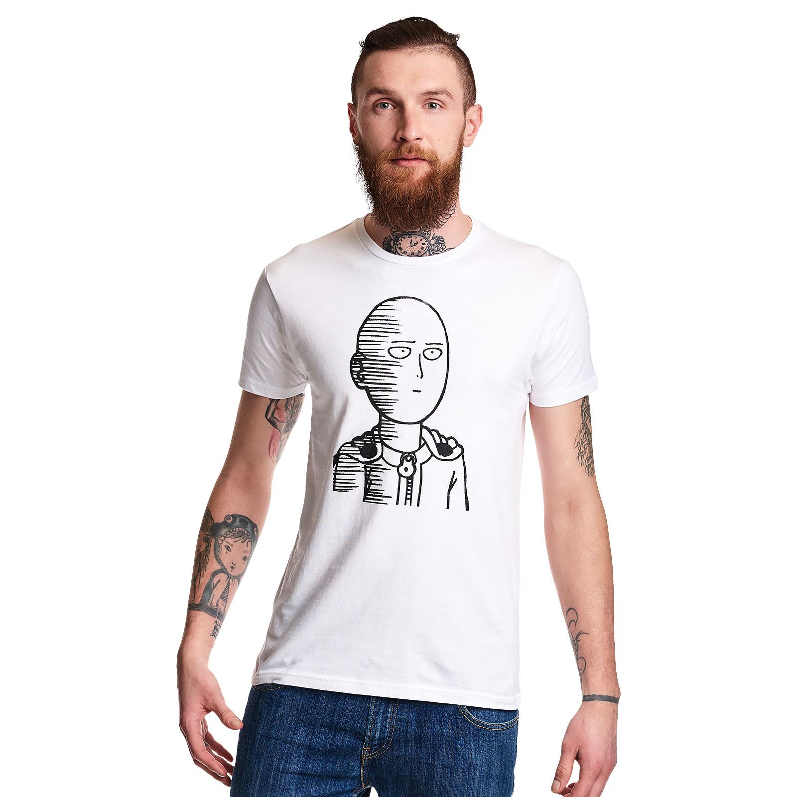 One Punch Man - Saitama Sketch T-Shirt weiß