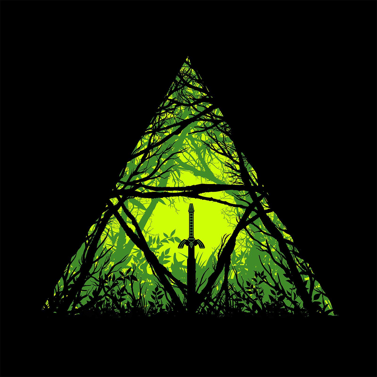 Masterschwert im Wald T-Shirt für Zelda Fans schwarz