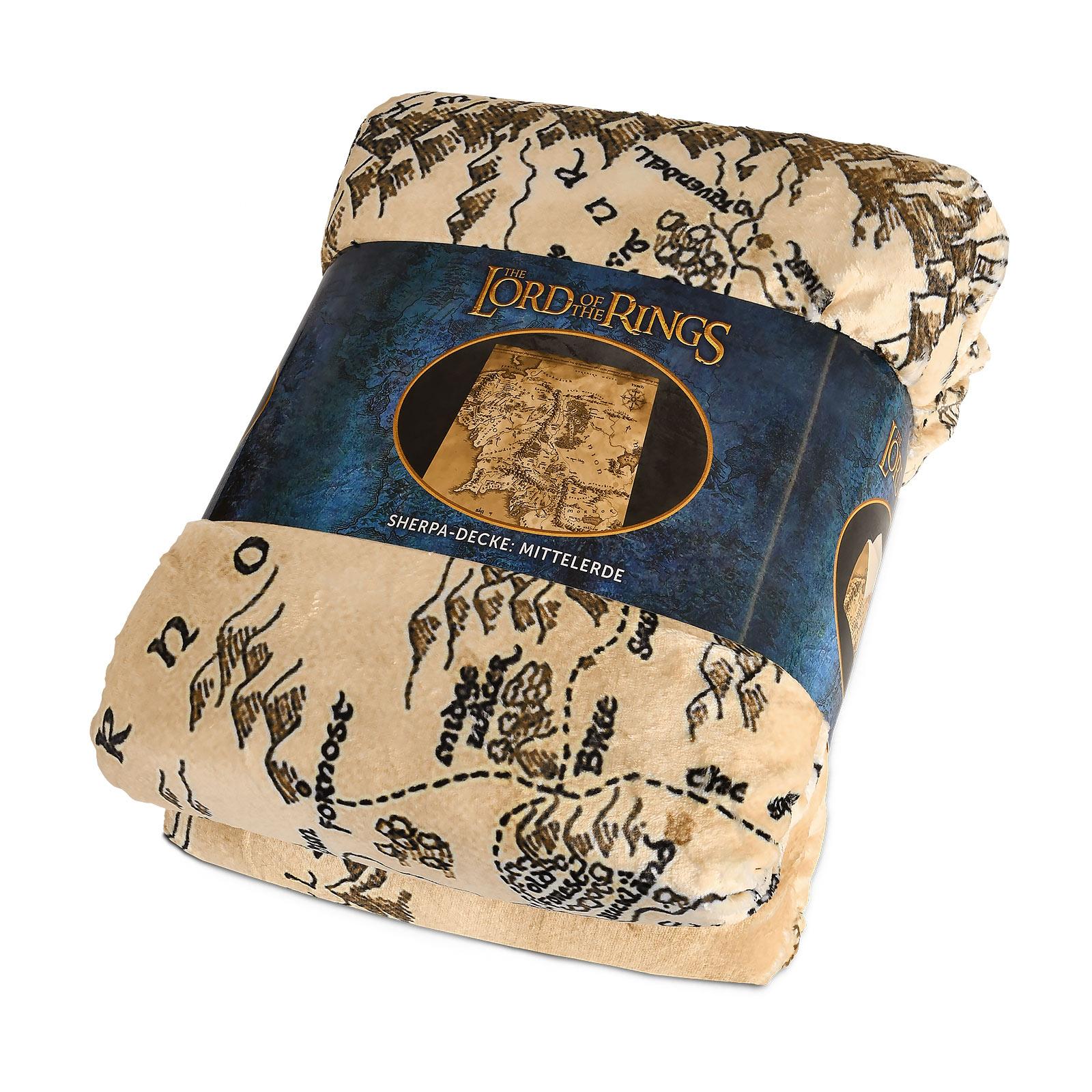 Herr der Ringe - Mittelerde Karte Flauschdecke mit Teddyfell