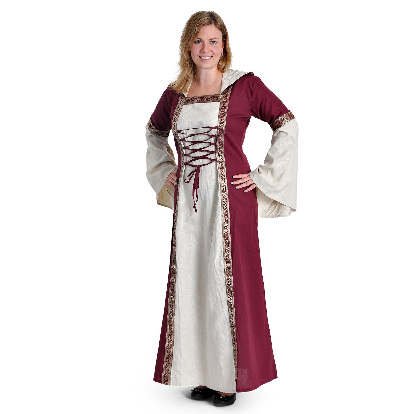 Mittelalter Kleid Brigitta natur-bordeaux