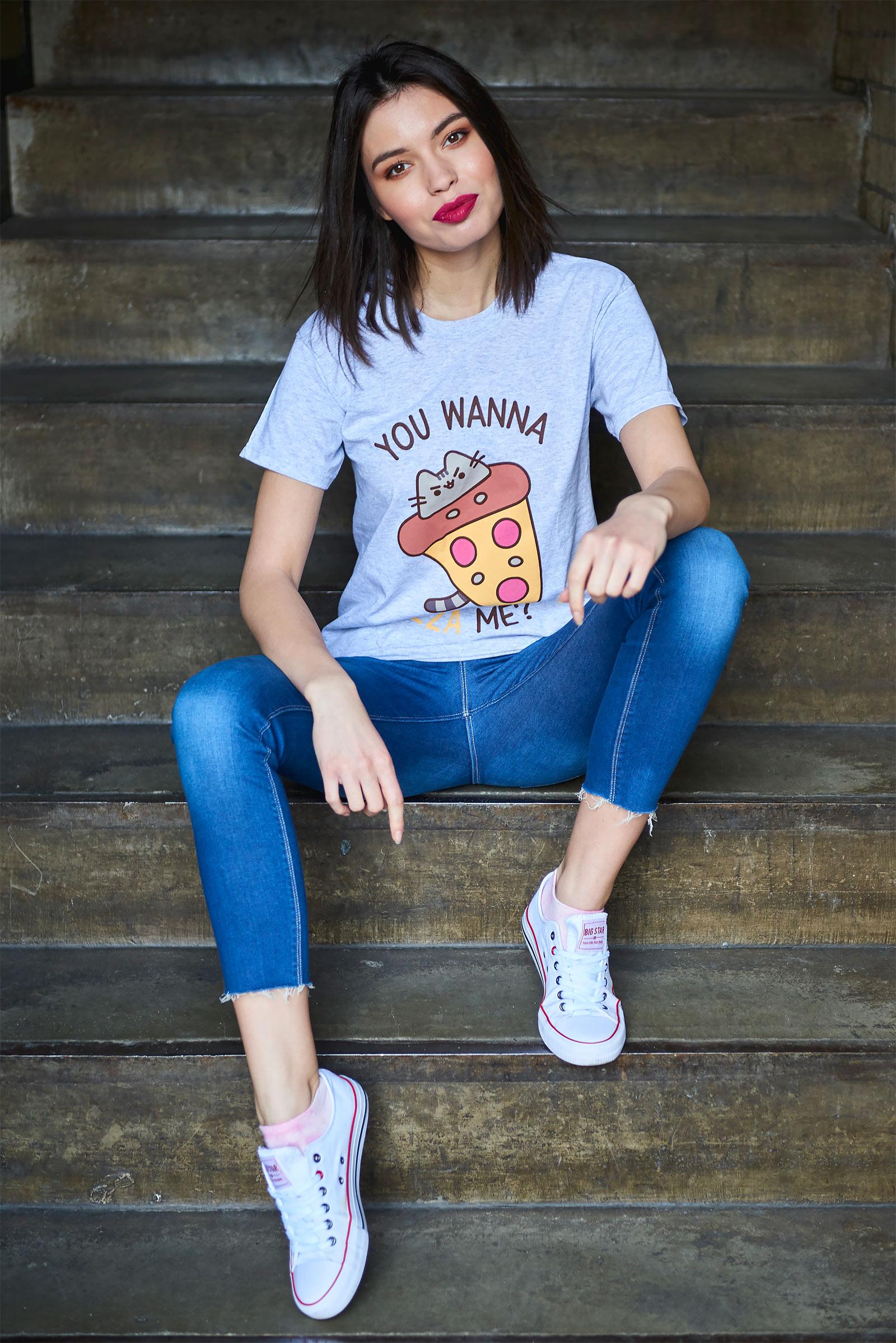 Pusheen - You Wanna Pizza Me T-Shirt grau