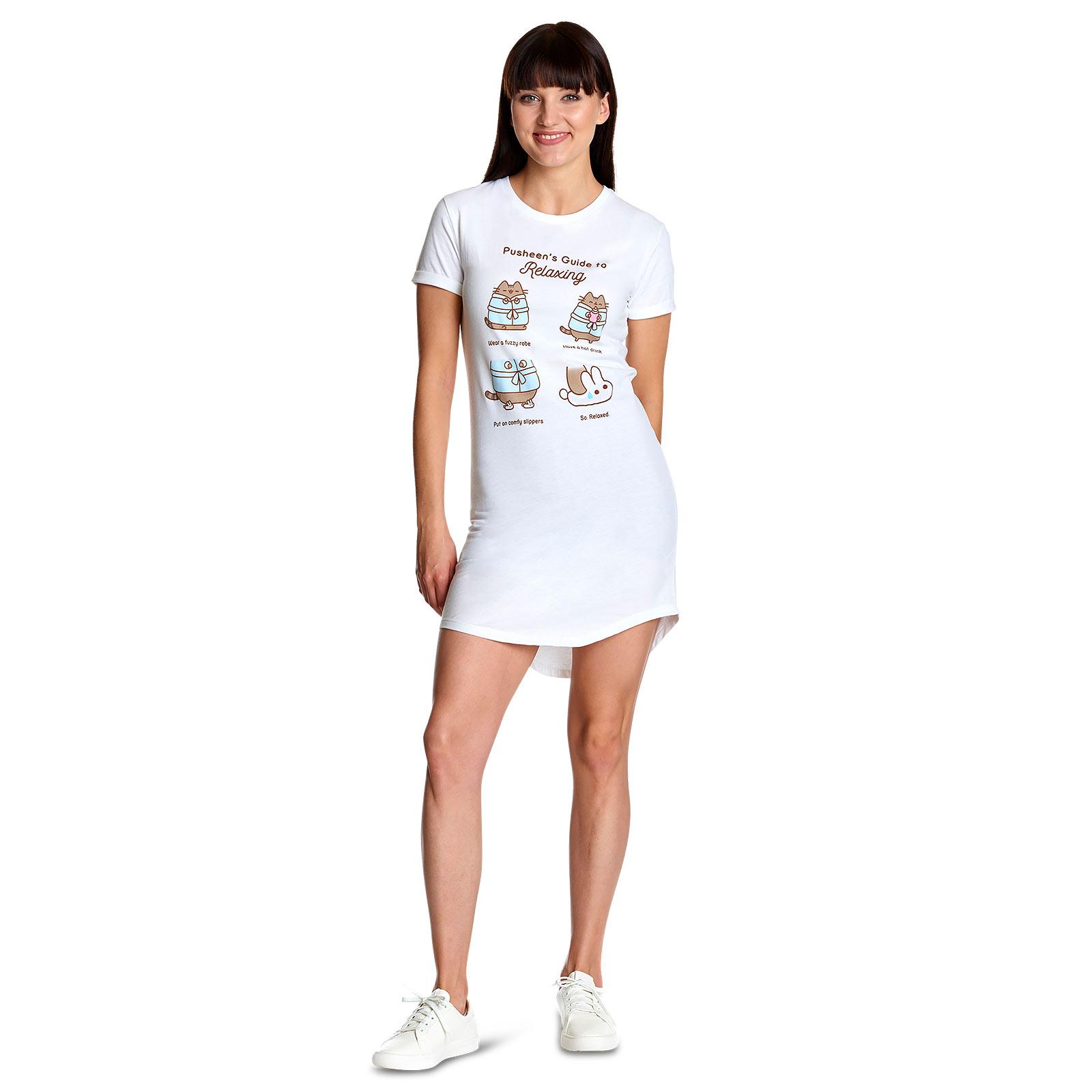 Pusheen - Guide to Relaxing Longshirt Damen weiß