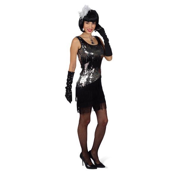Paillettenkleid Liza Glamour Damenkostüm mit Fransen