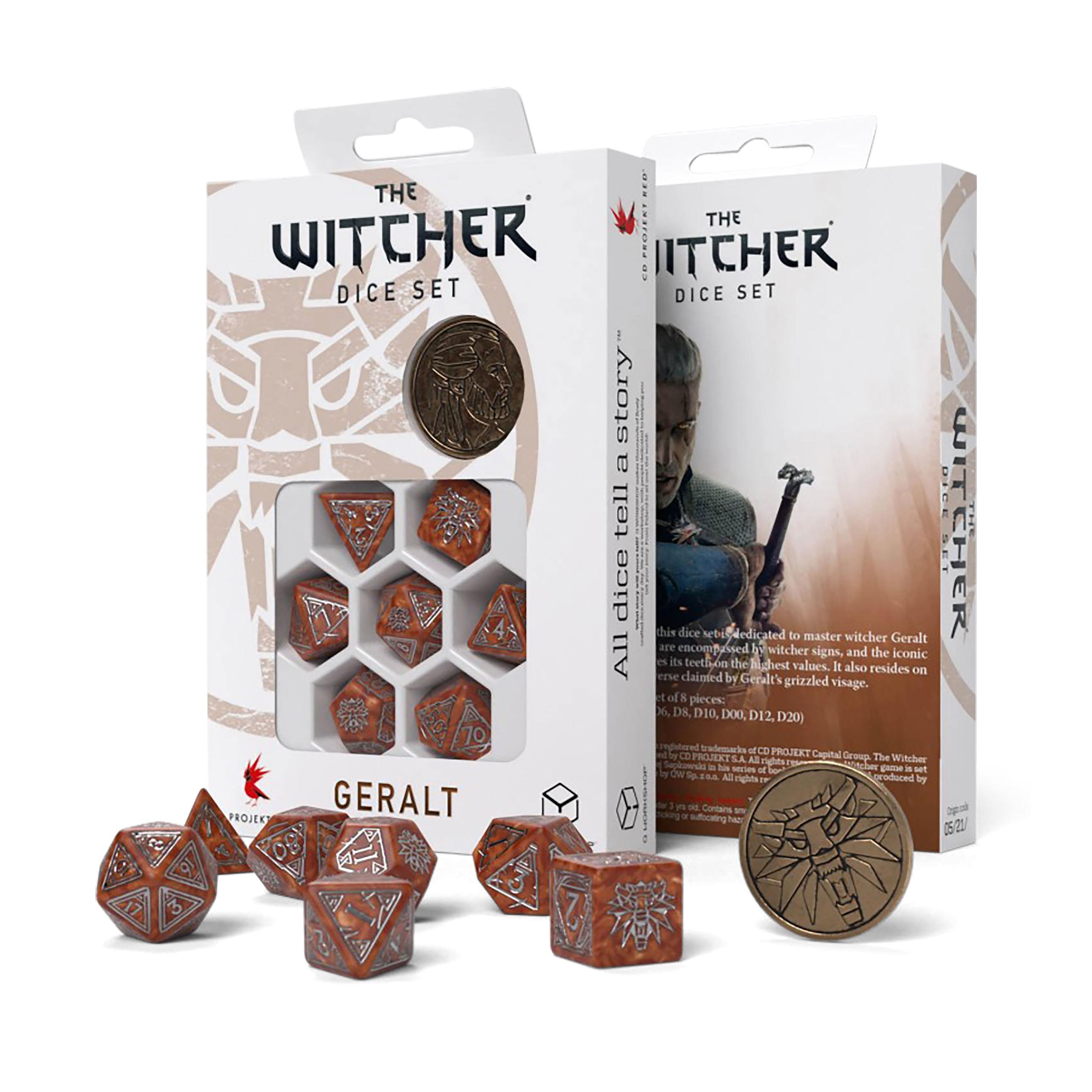 Witcher - Geralt Monster Slayer RPG Würfel Set 7tlg mit Sammlermünze