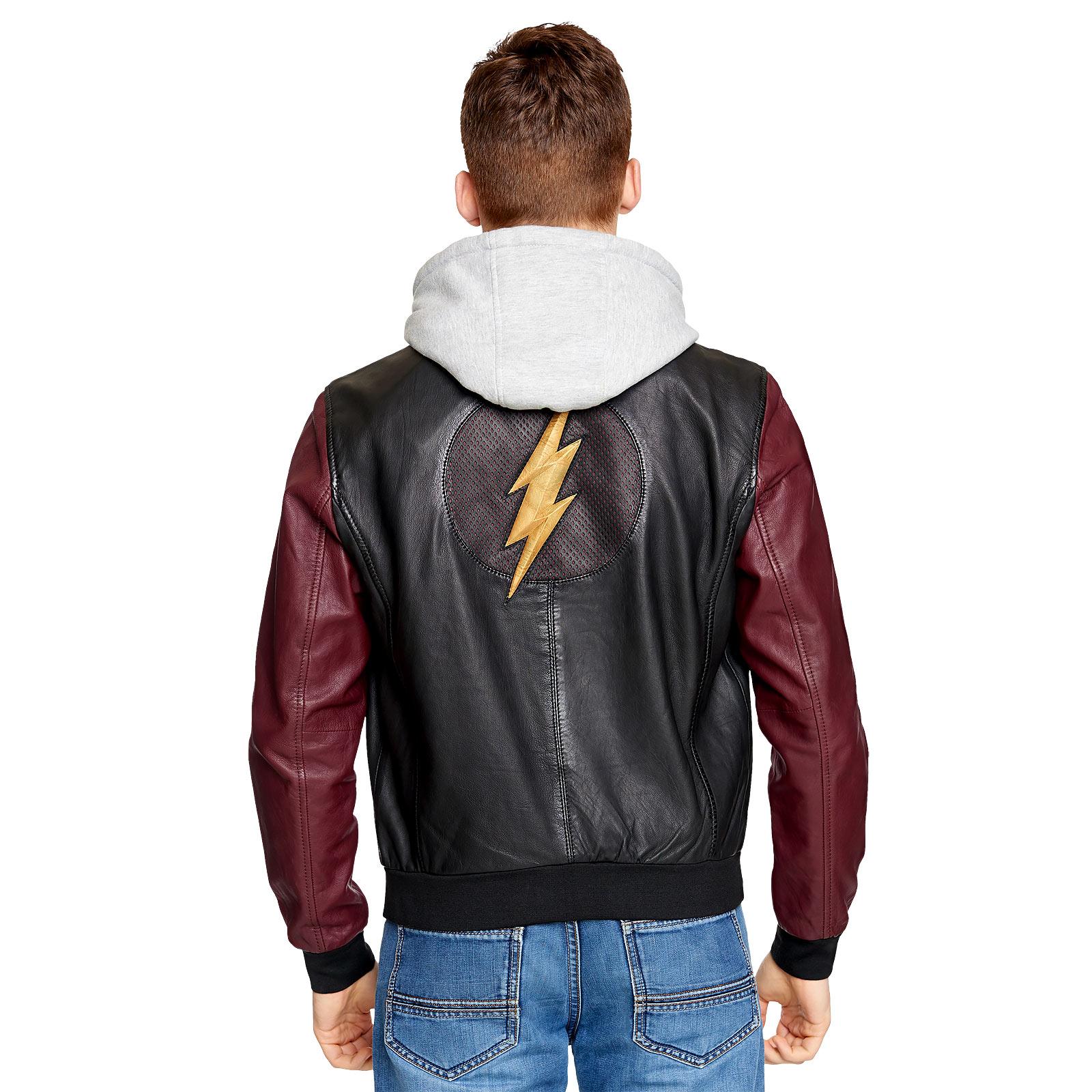 Flash - Logo Lederjacke mit Kapuze
