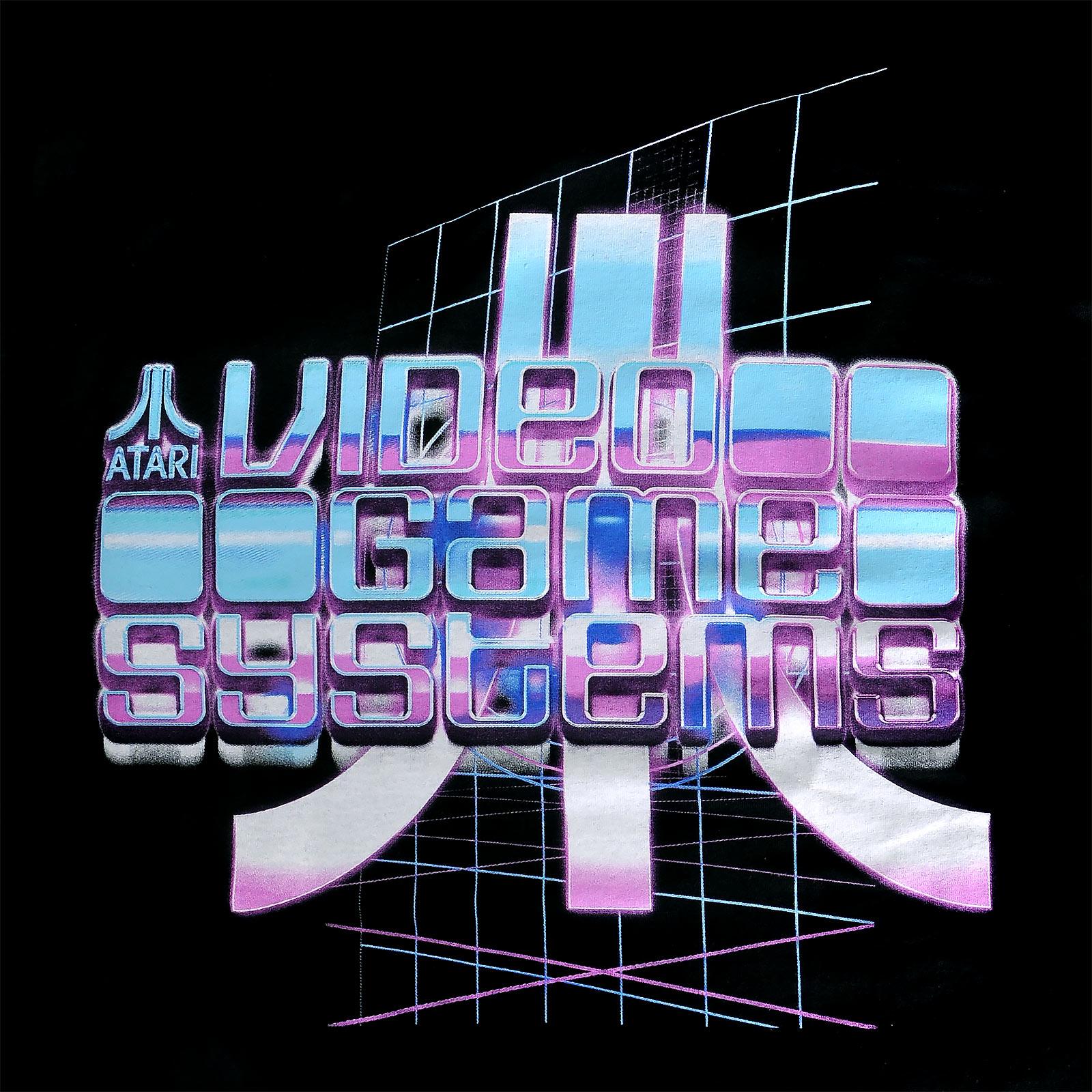 Atari - Video Game Systems Retrowave T-Shirt schwarz