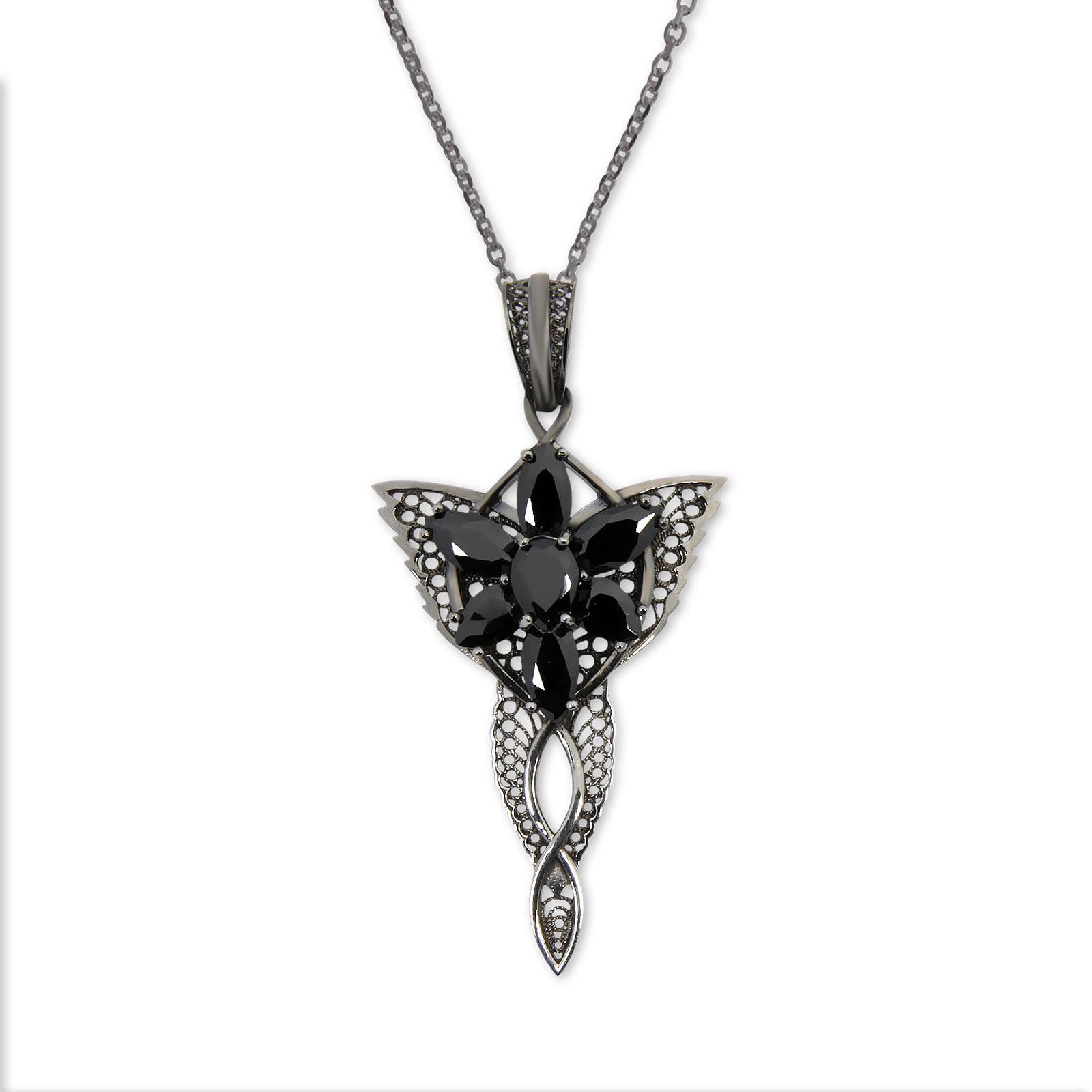 Arwens Abendstern Filigran mit Collierkette schwarz Dark Years Collection