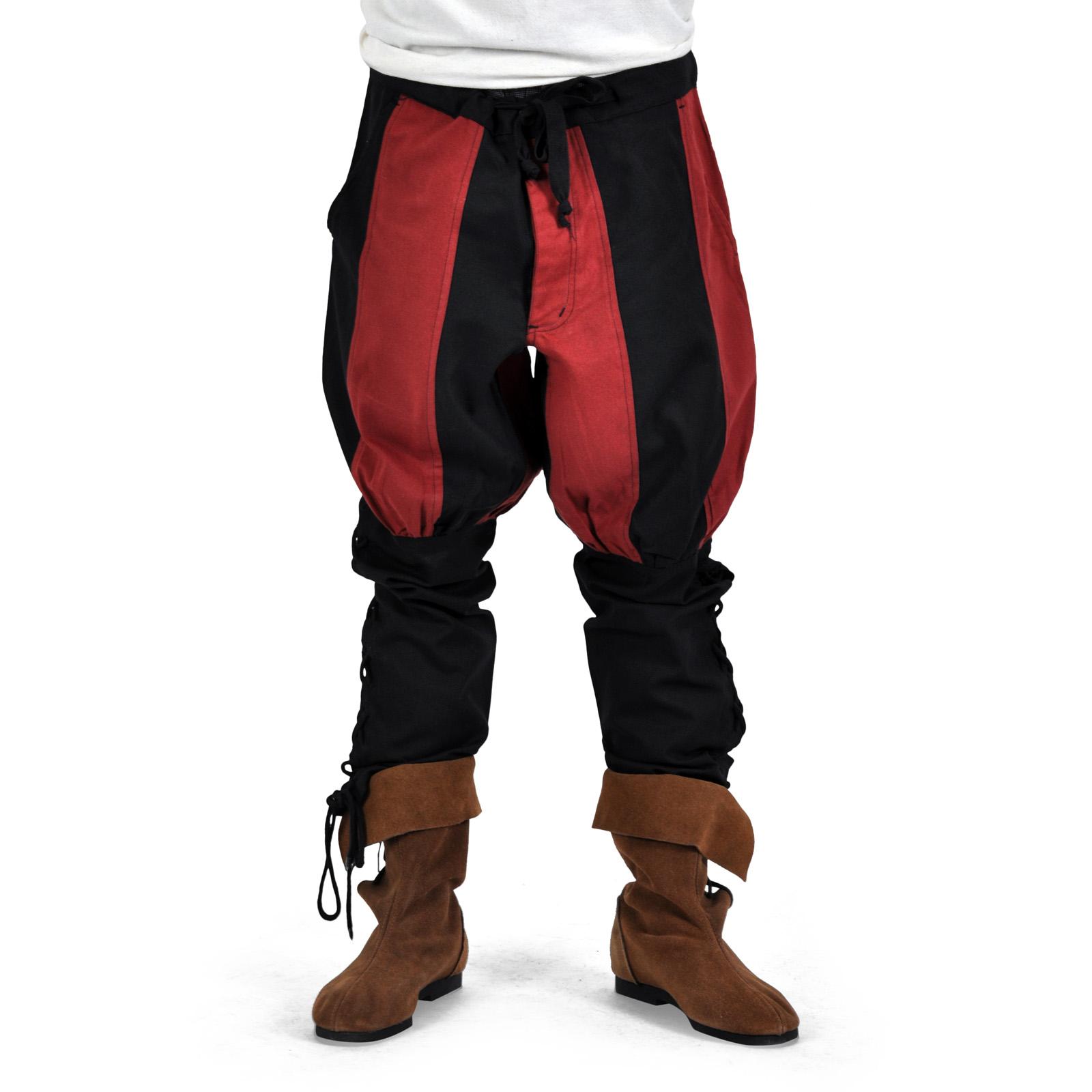 Hose Bertram Herren mit Unterbeinschnürung schwarz-rot