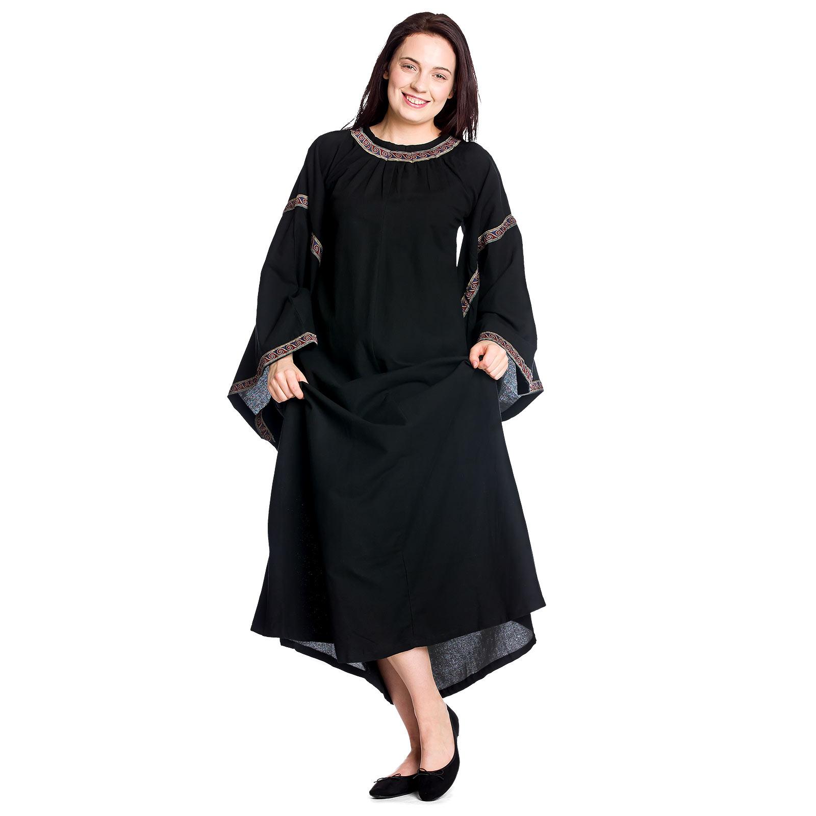 Mittelalter Kleid Ida mit Trompetenärmel schwarz