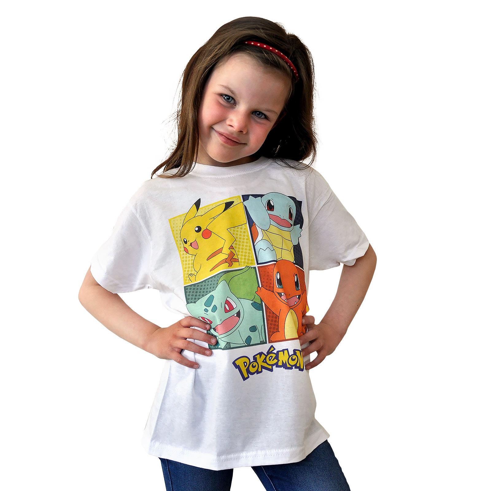 Pokemon - Kanto-Starter T-Shirt Kinder weiß