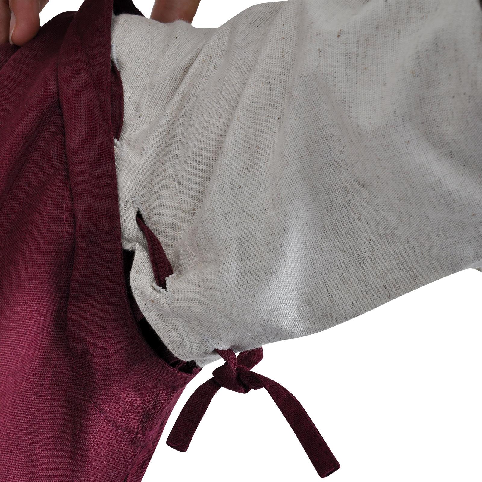 Mittelalter Kleid Applonia mit abnehmbaren Ärmeln natur-bordeaux