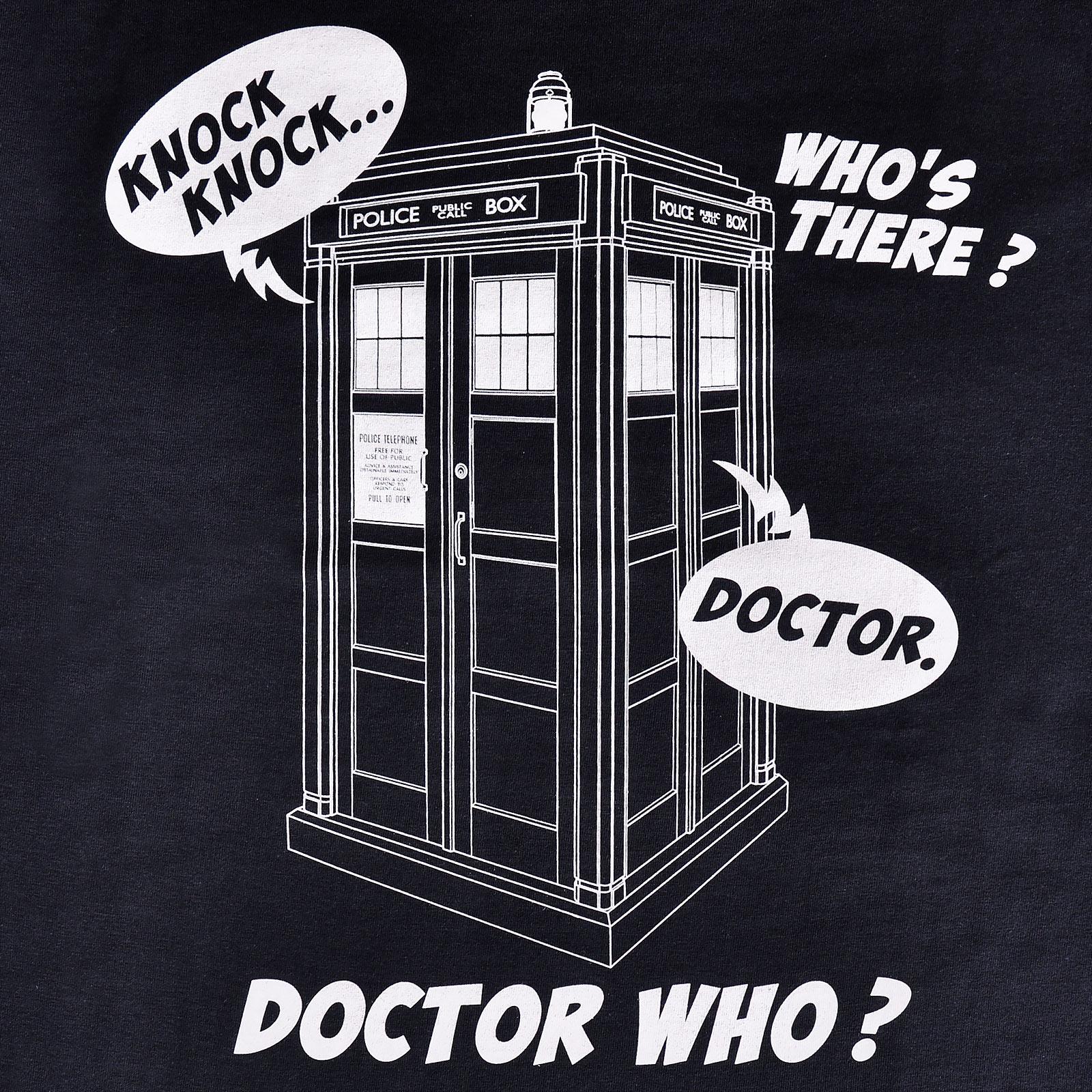 Doctor Who - Tardis Knock Knock T-Shirt blau