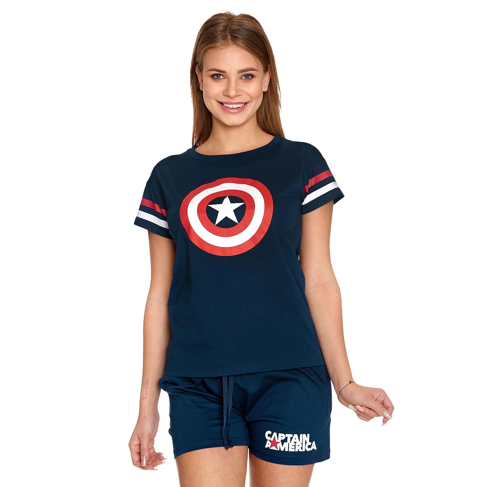 Captain America - Shield Logo Pyjama kurz Damen