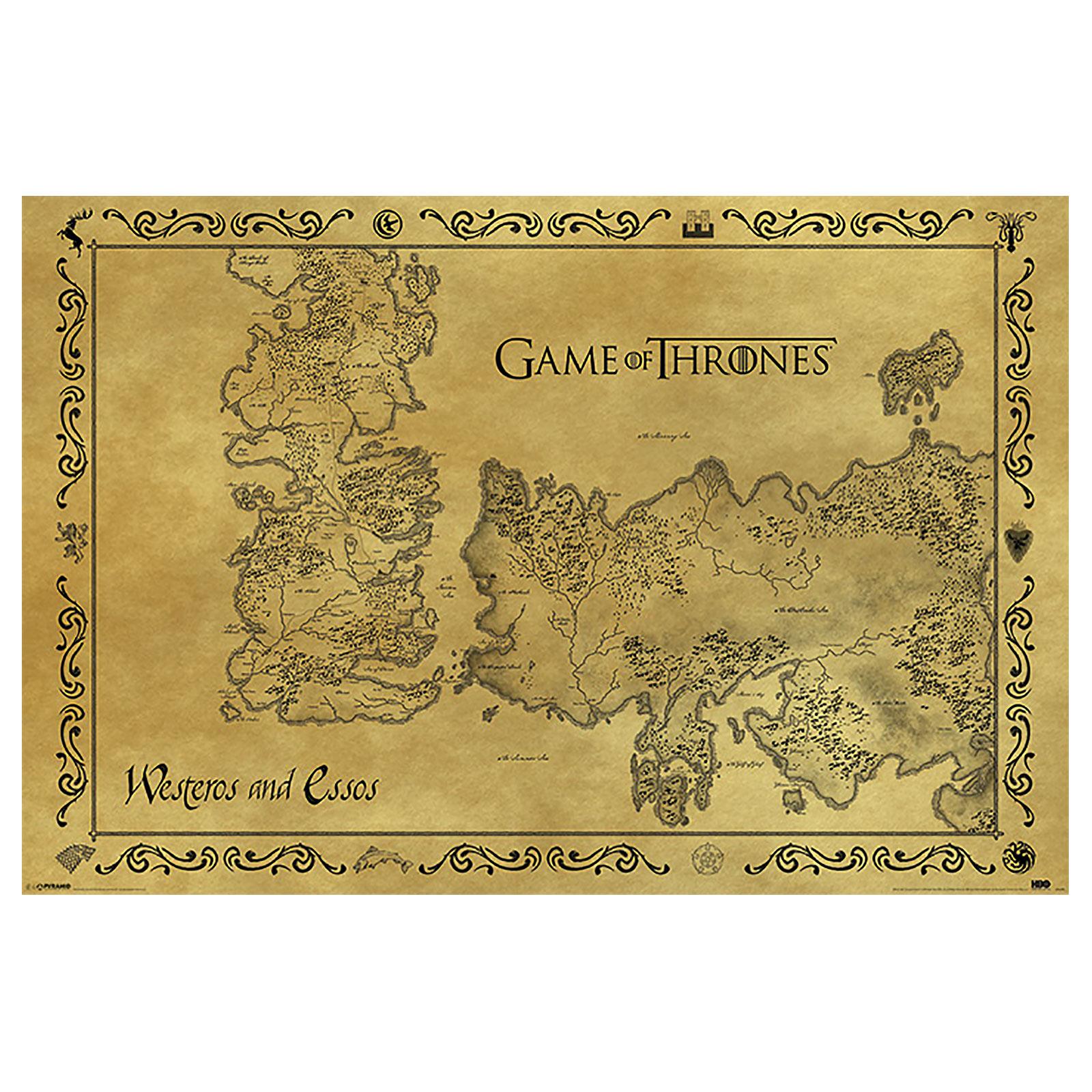 Game of Thrones - Karte von Westeros und Essos Maxi Poster