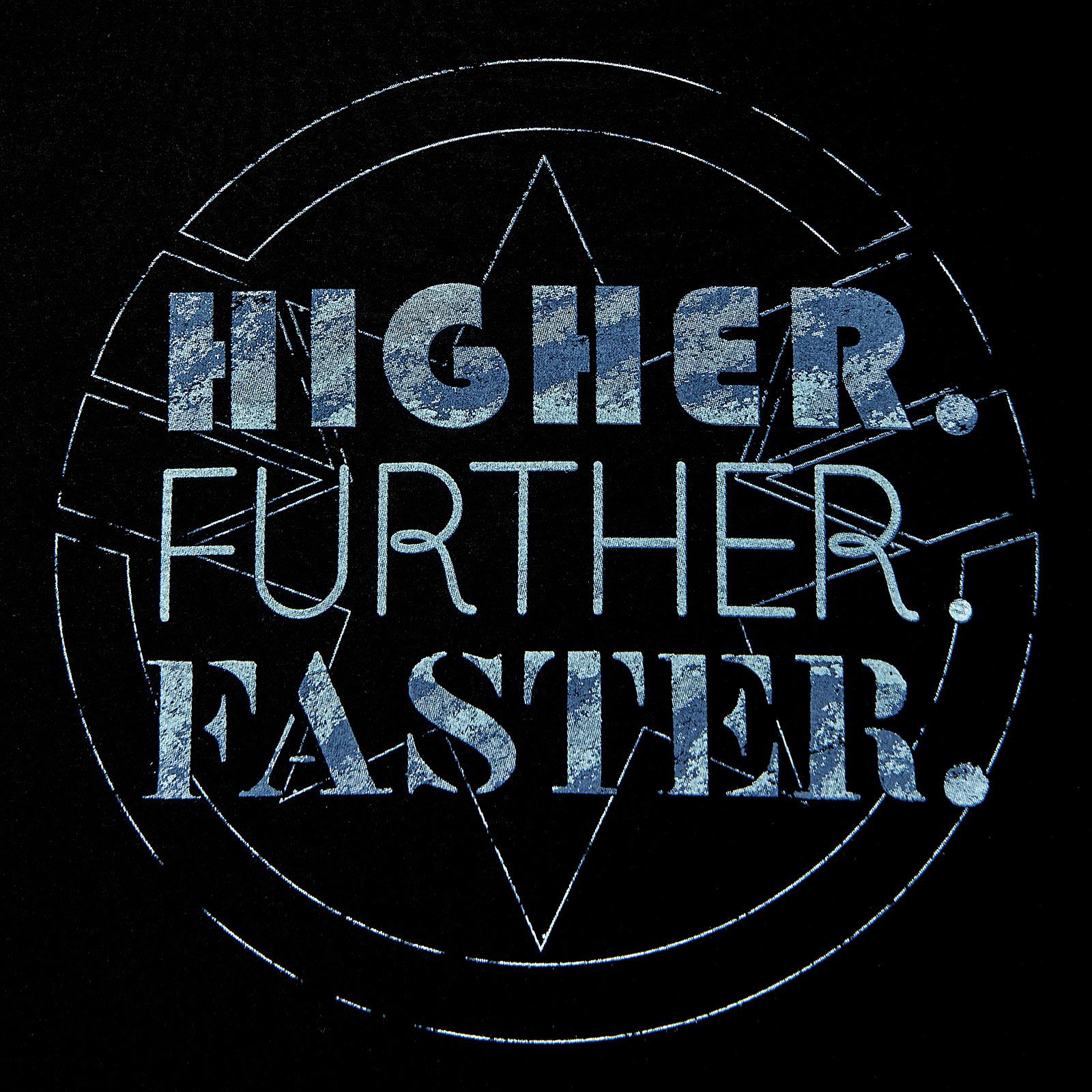 Captain Marvel - Higher Further Faster T-Shirt schwarz