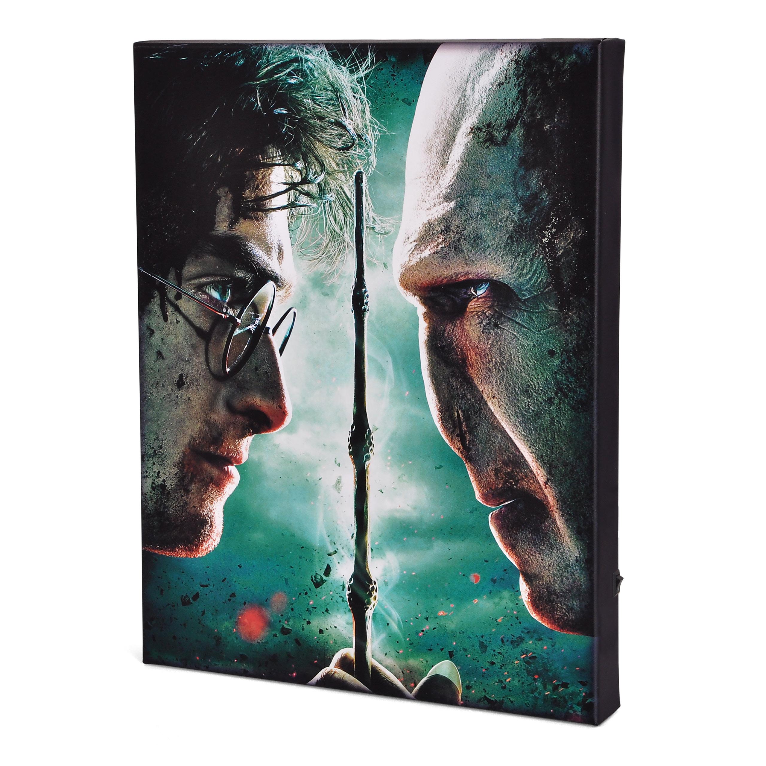 Harry Potter - Harry vs. Voldemort Wandbild mit Licht