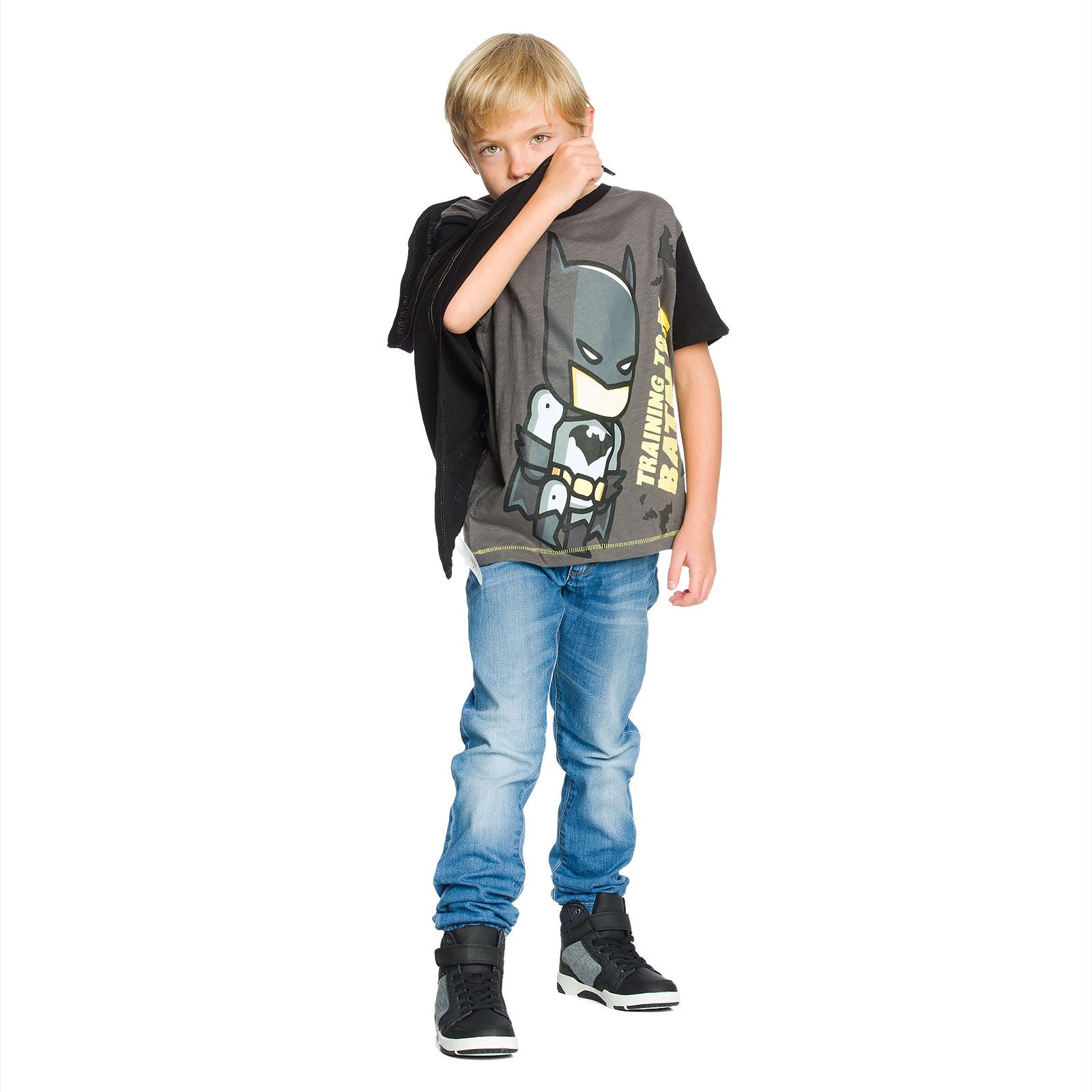 Batman - Kinder T-Shirt mit Cape schwarz