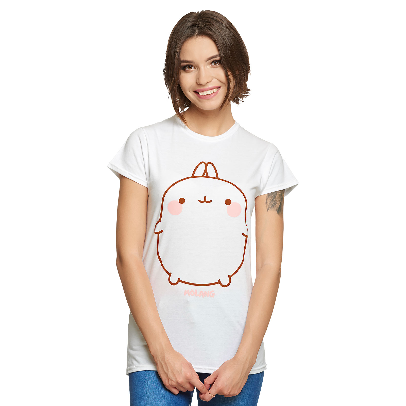 Molang - Smile T-Shirt Damen weiß