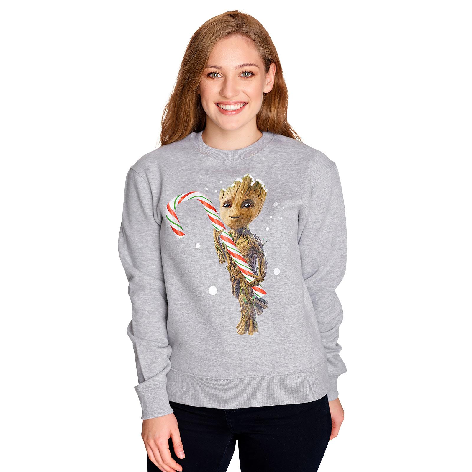 Guardians of the Galaxy - Groot mit Zuckerstange Sweater grau