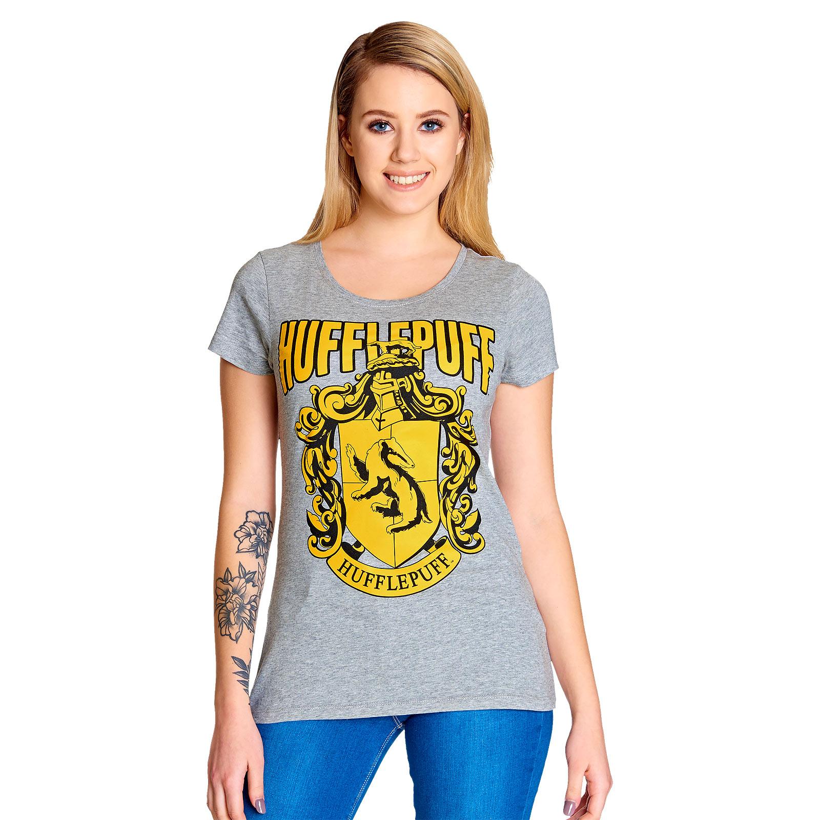 Harry Potter - Hufflepuff Wappen T-Shirt Damen grau