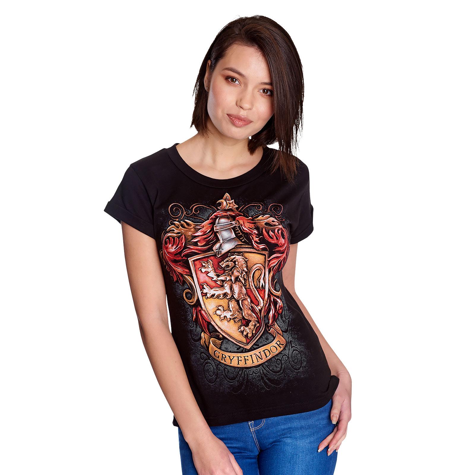 Harry Potter - Gryffindor Wappen T-Shirt Damen schwarz