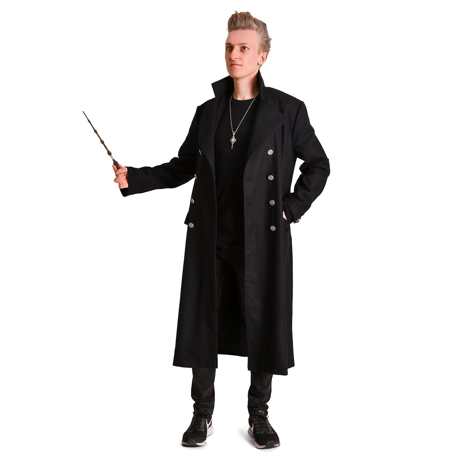 Dunkler Magier Mantel schwarz