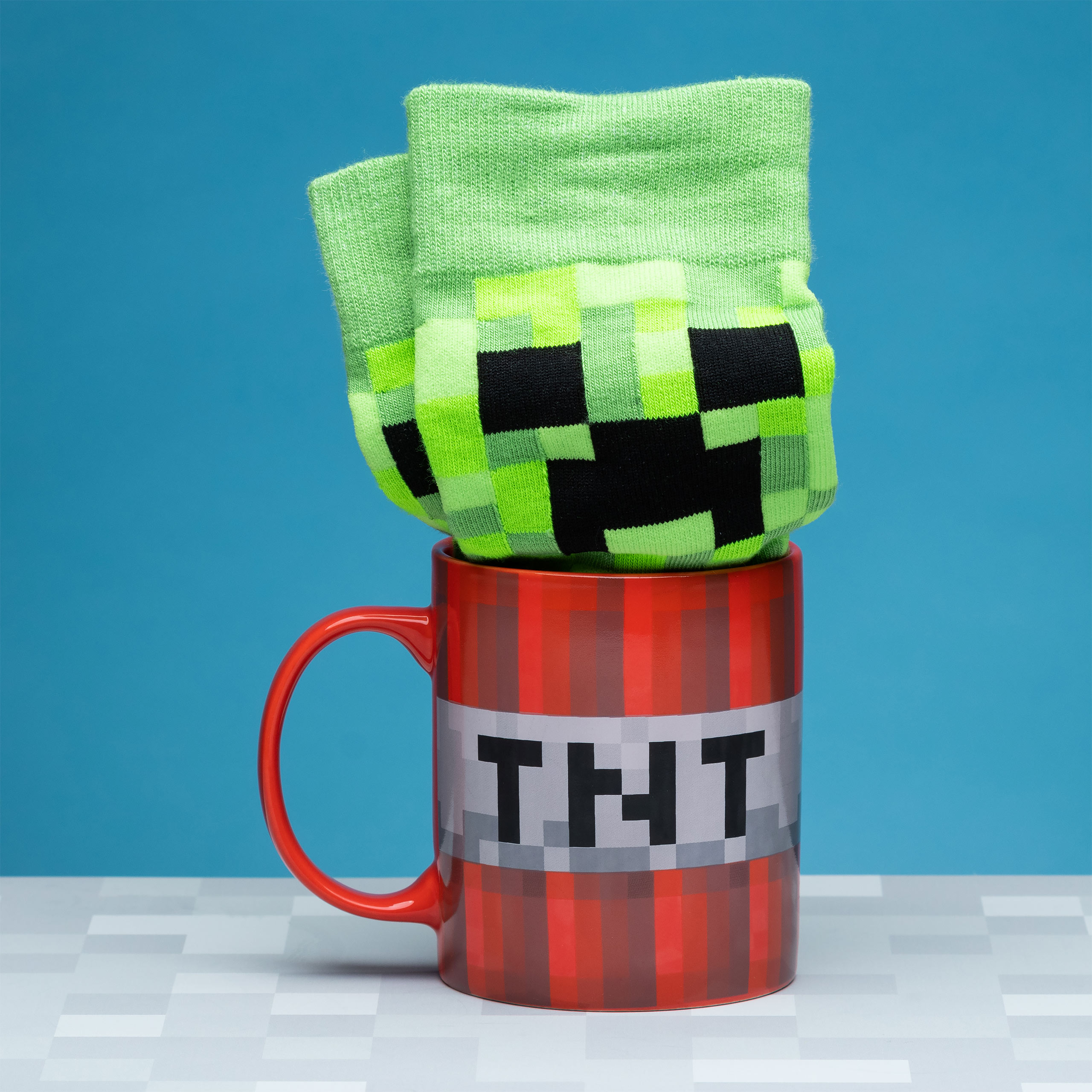Minecraft - Creeper Socken und TNT Tasse Set