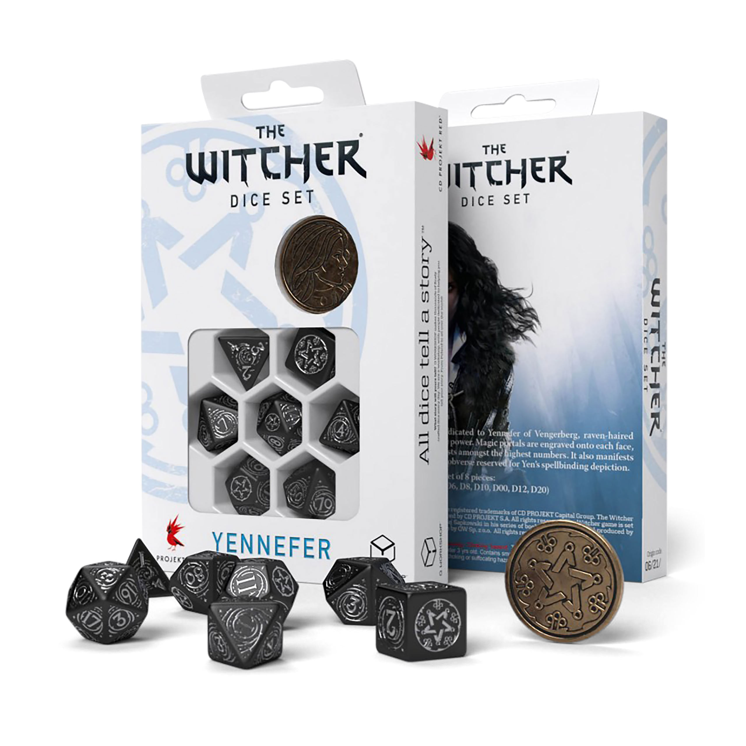Witcher - Yennefer Obsidian Star RPG Würfel Set 7tlg mit Sammlermünze