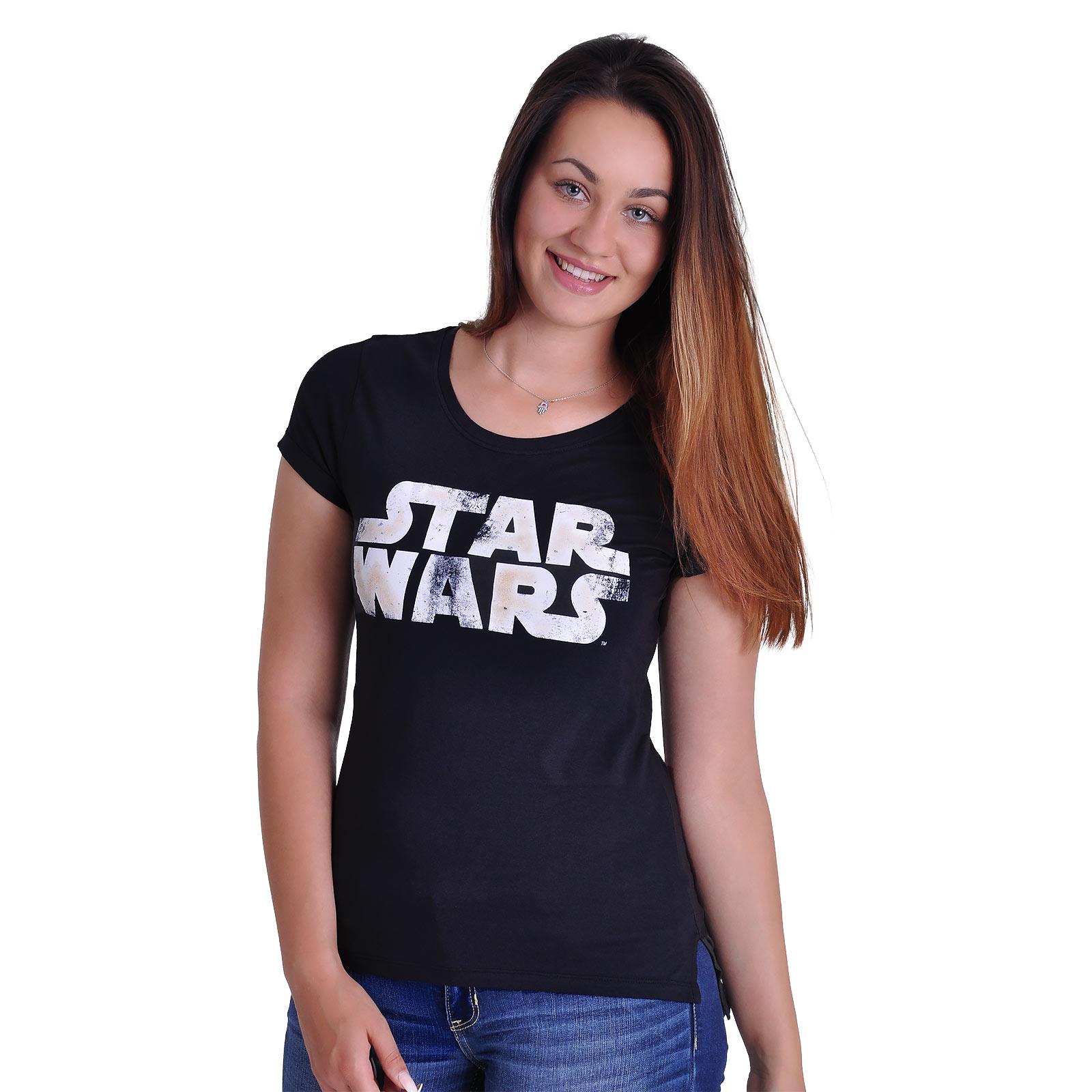 Star Wars - Distressed Logo Girlie Shirt schwarz
