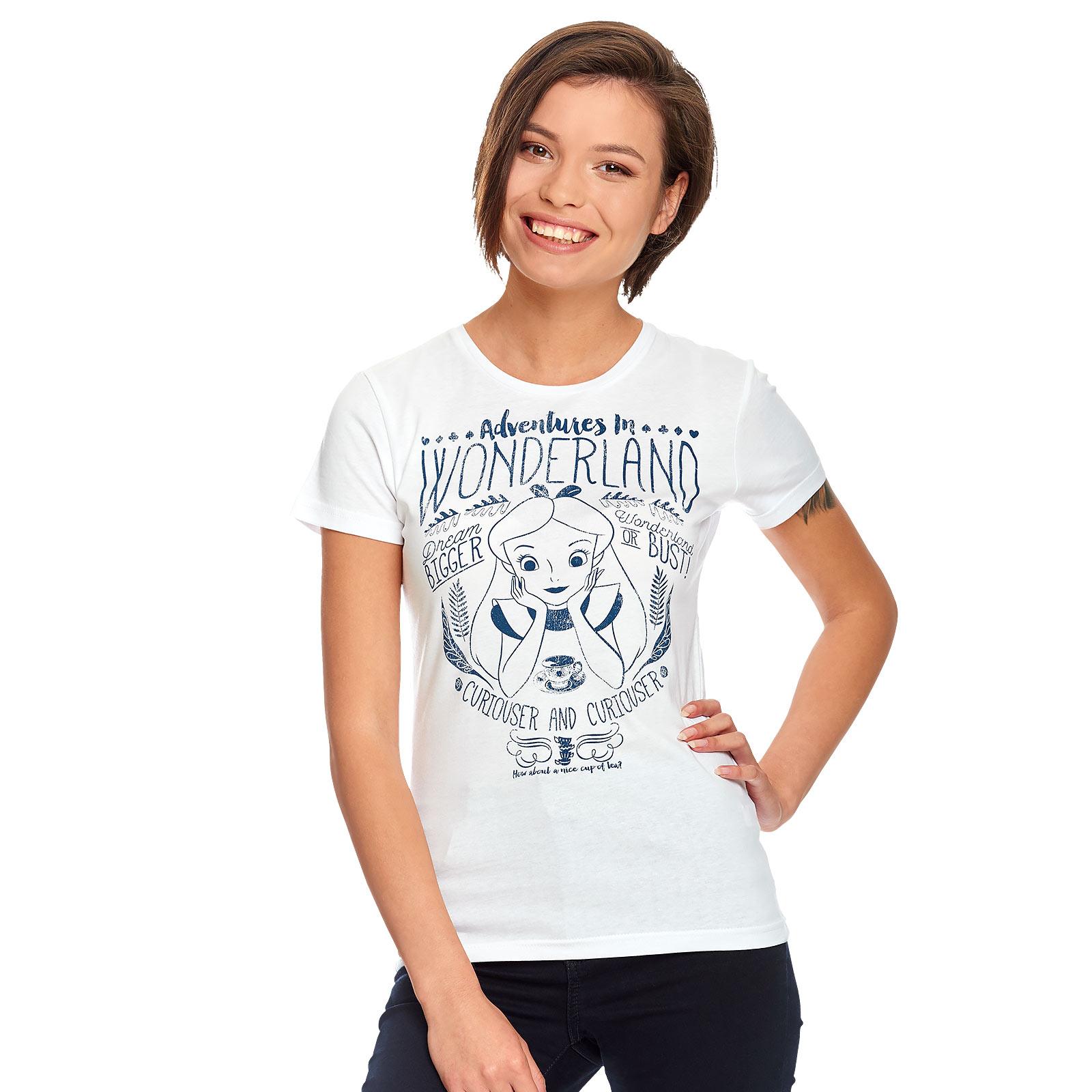 Alice im Wunderland - Adventures in Wonderland T-Shirt Damen weiß