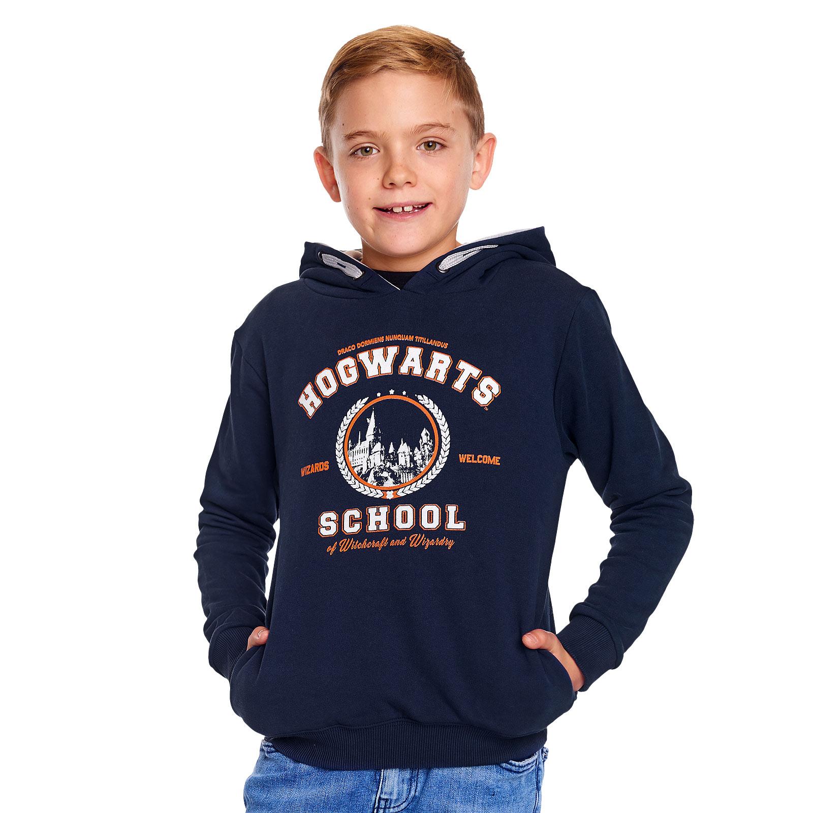 Harry Potter - Hogwarts School Kinder Hoodie blau