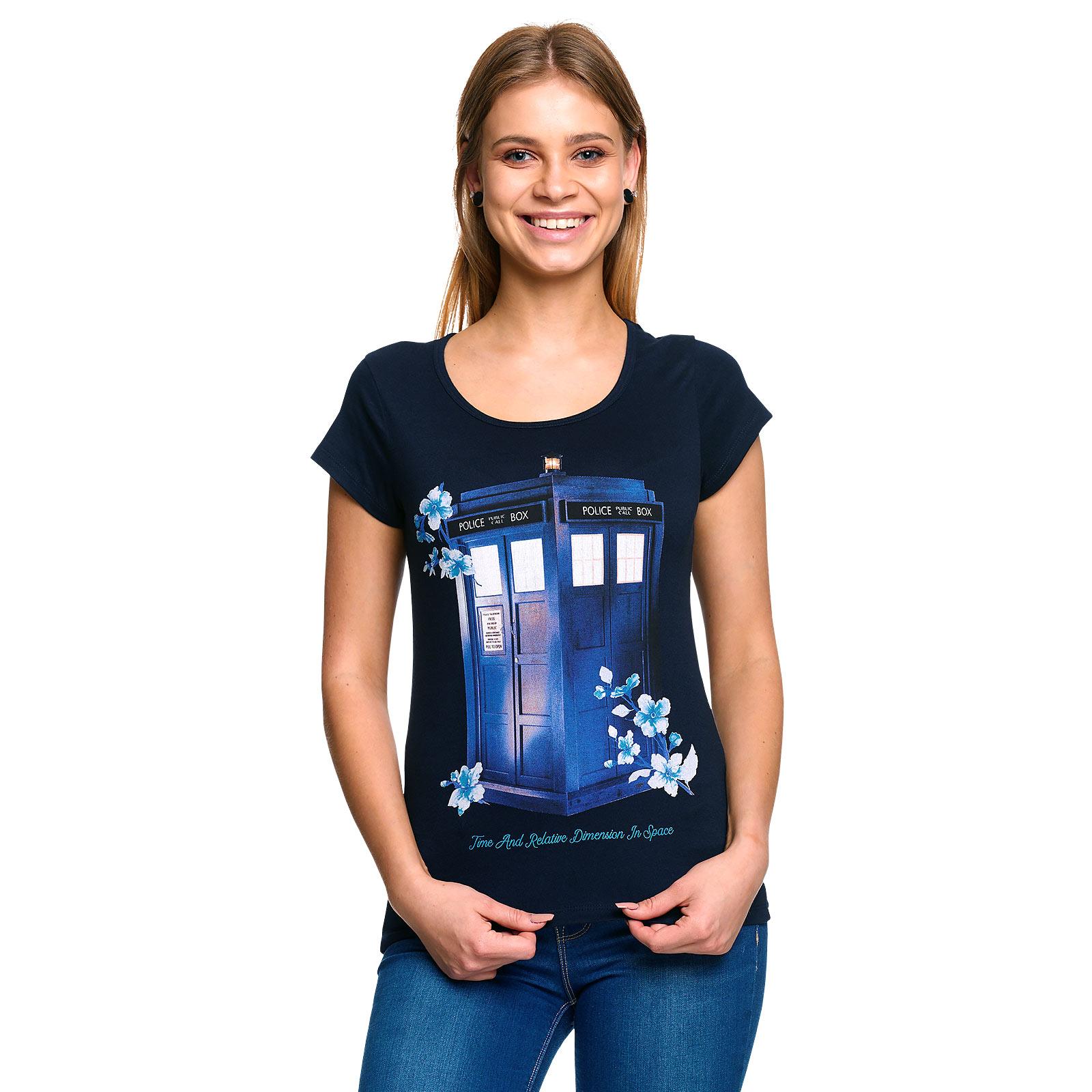 Doctor Who - Floral Tardis T-Shirt Damen blau