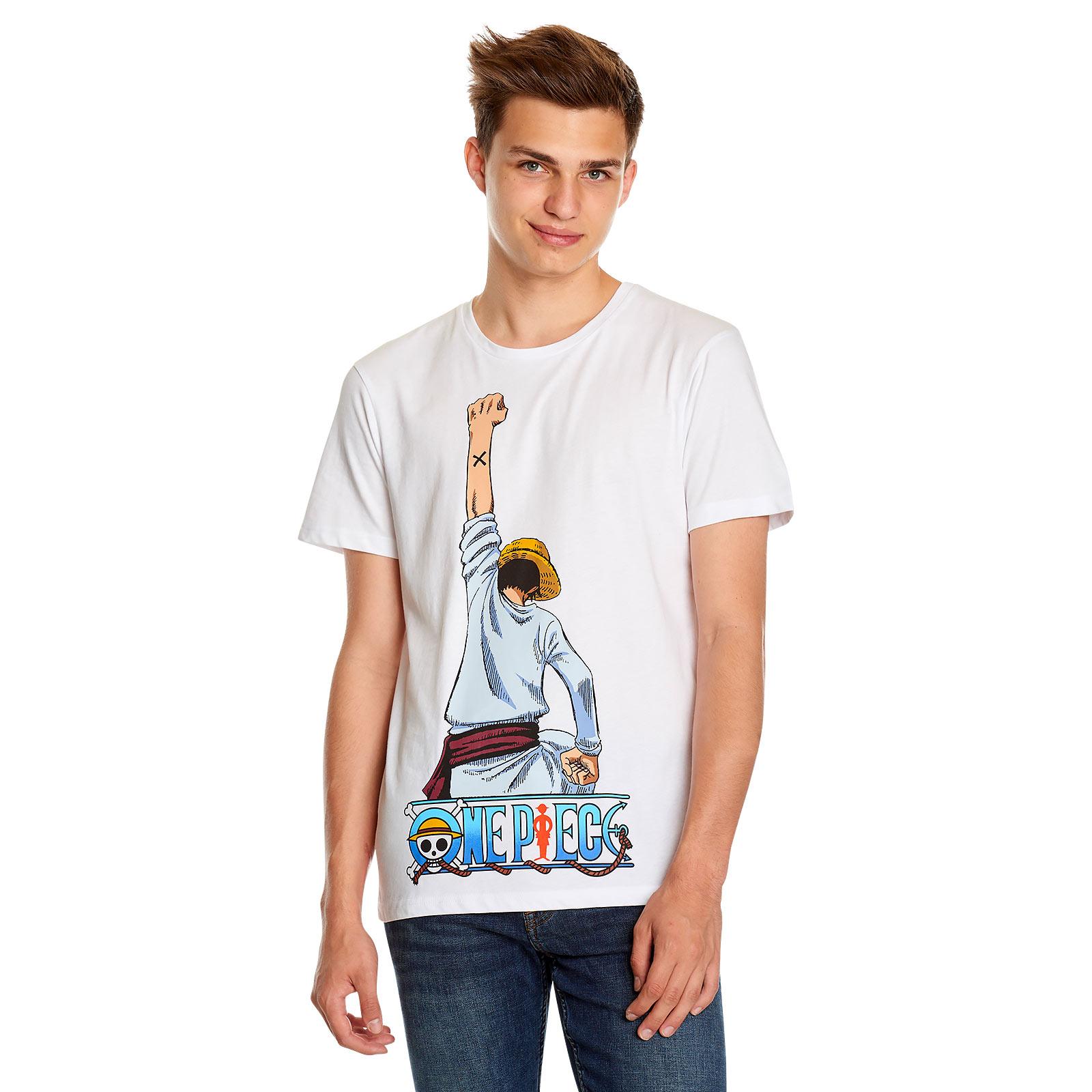 One Piece - Ruffy Fight Pose T-Shirt weiß