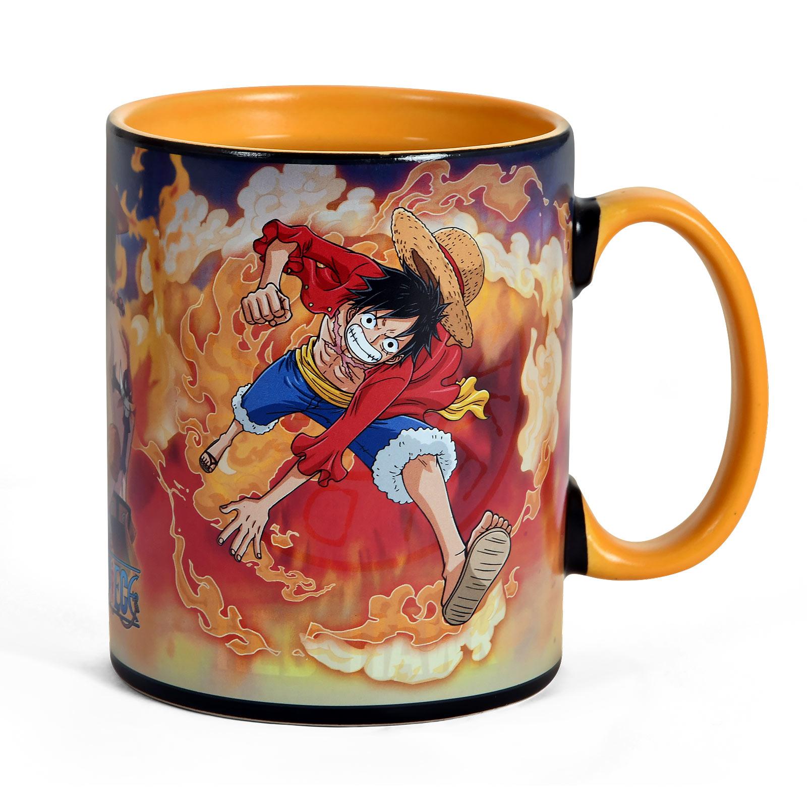 One Piece - Sabo und Ruffy Thermoeffekt Tasse