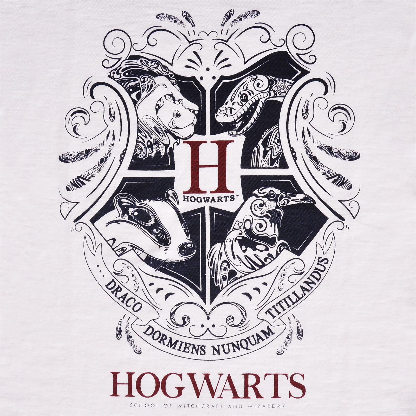Harry Potter - Hogwarts Wappen T-Shirt Damen weiß